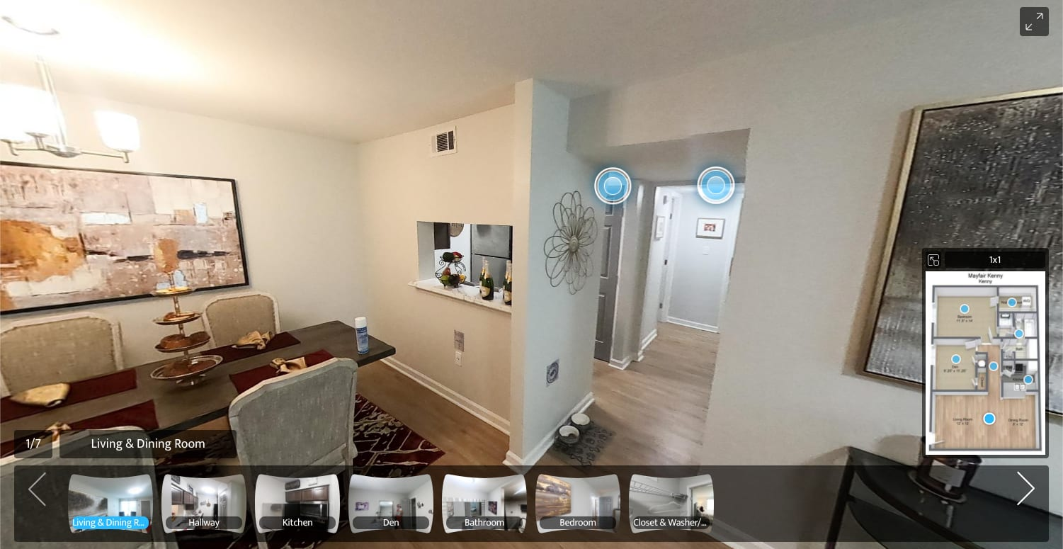 virtual tour of 1 Bedroom 1 Bath apartment at Summerfield Apartment Homes in Harvey, Louisiana