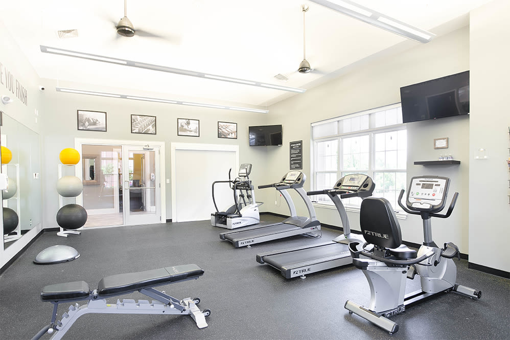 Fully-equipped fitness center at Torrente Apartment Homes in Upper St Clair, Pennsylvania
