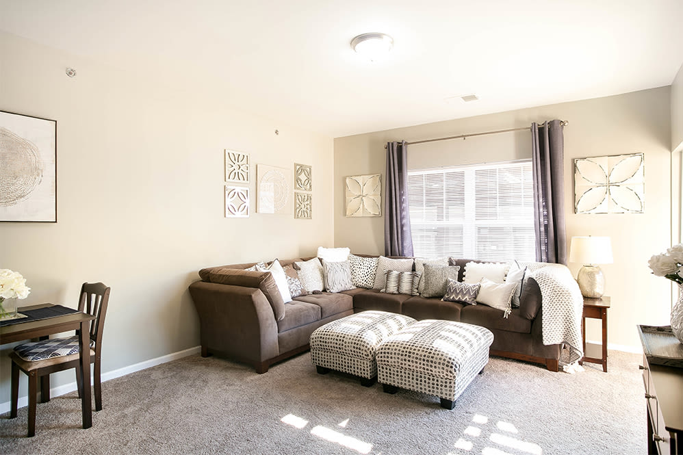 Spacious living room at Torrente Apartment Homes in Upper St Clair, Pennsylvania