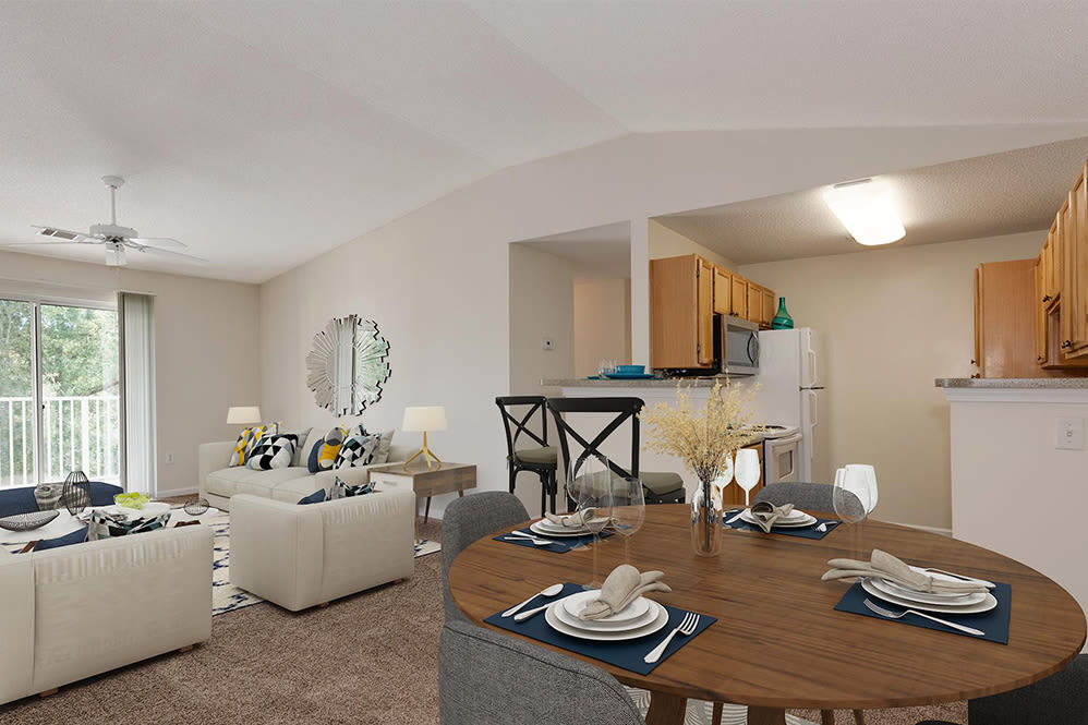 Living Room & Dining Area at Forest Oaks Apartment Homes in Rock Hill, South Carolina