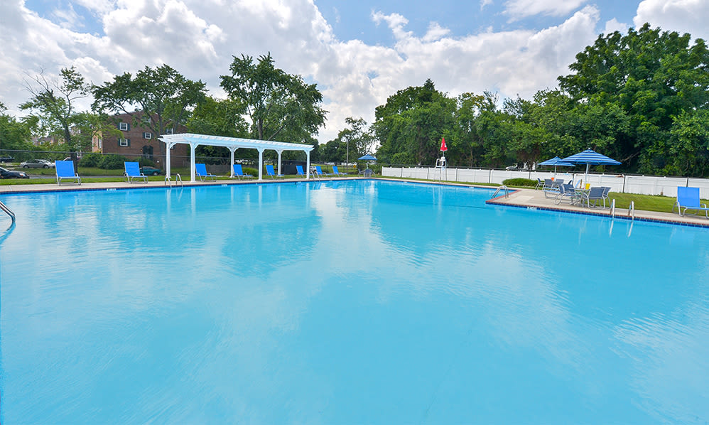 Spacious swimming pool at The Fairways Apartment Homes in Blackwood, NJ