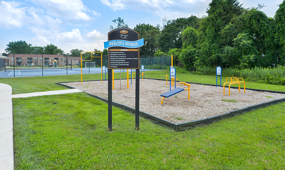 Outdoor fitness stations at The Fairways Apartment Homes in Blackwood, NJ