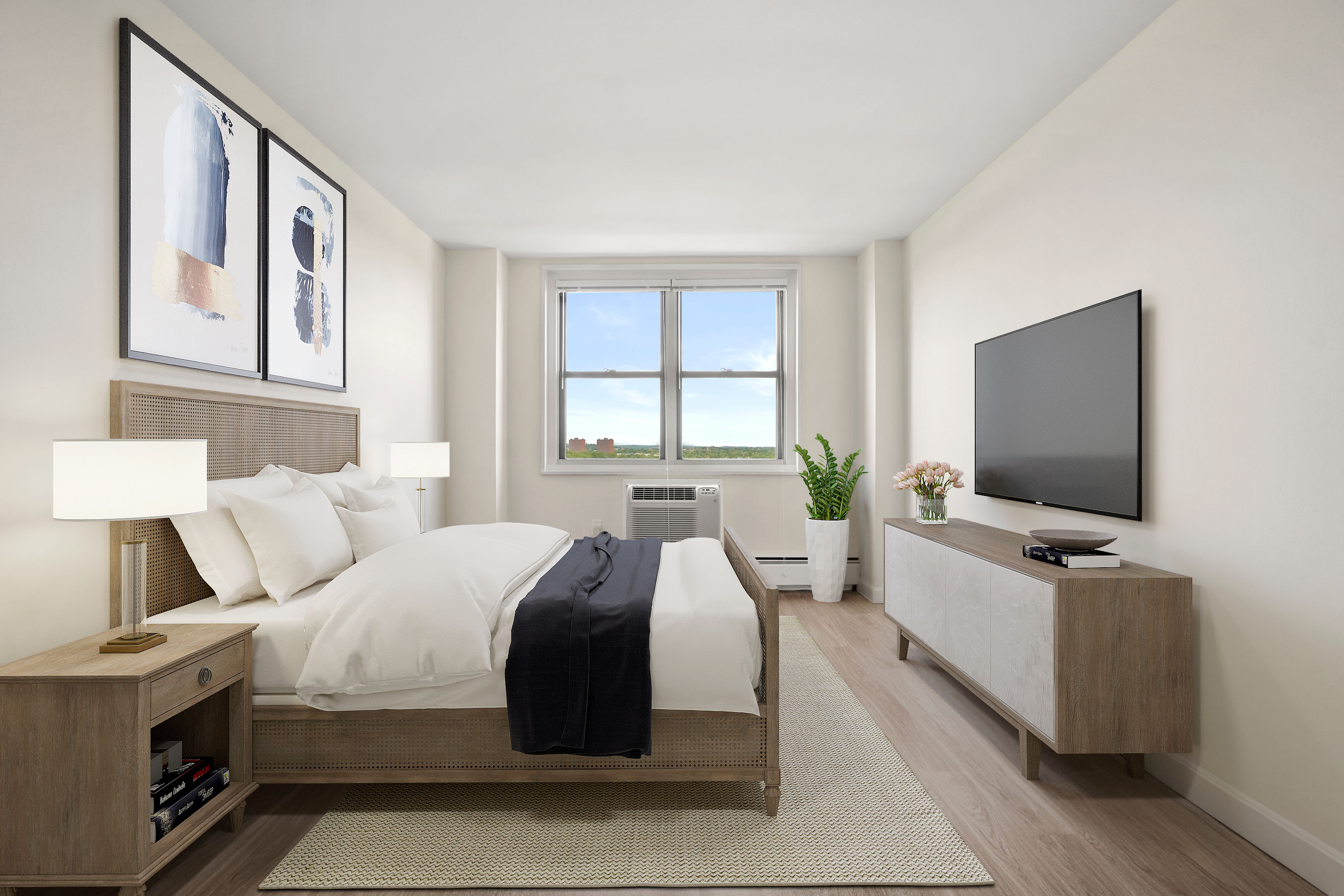 Stylish bedroom at Parkside Place in Cambridge, MA