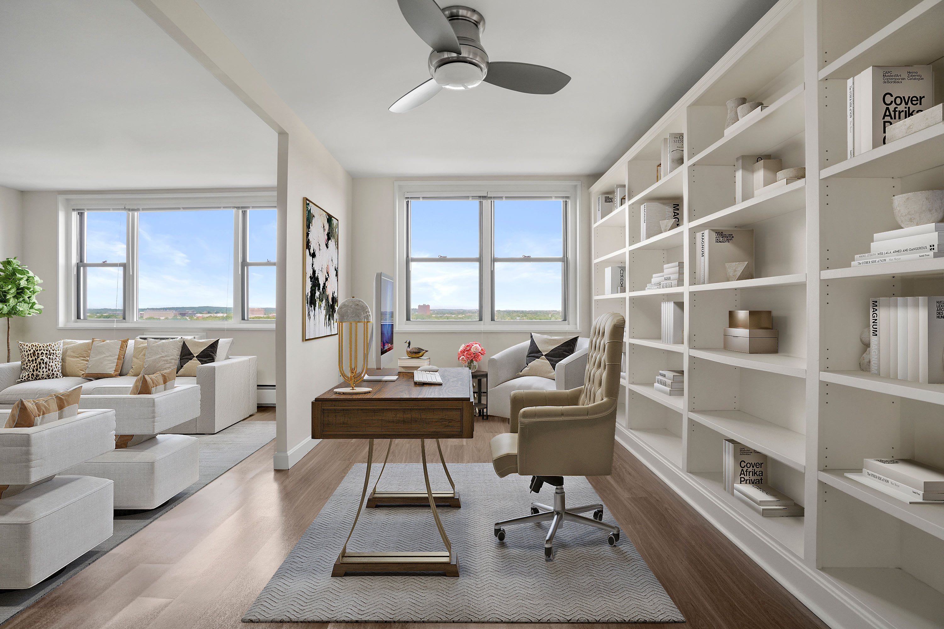 Modern living area at Parkside Place in Cambridge, MA