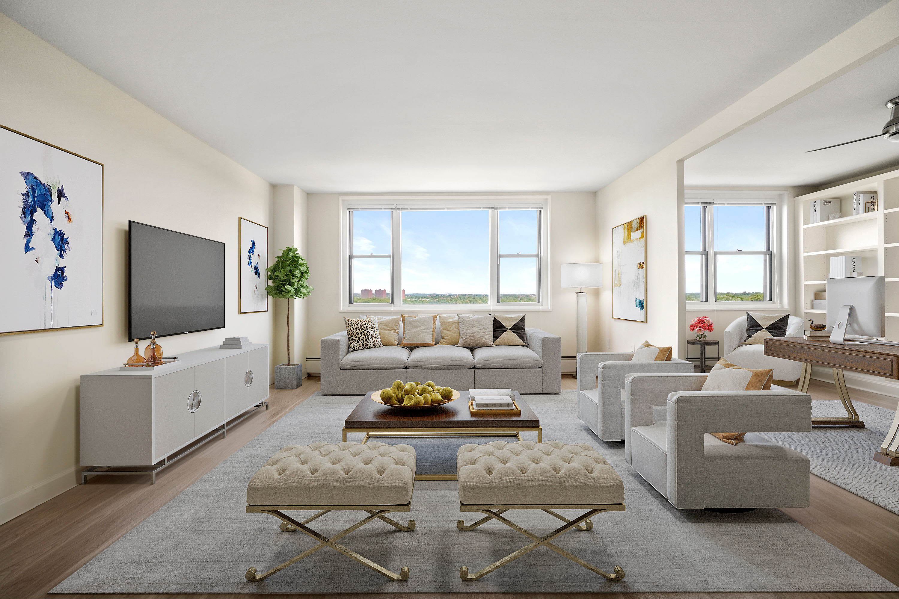 Spacious living room at Parkside Place in Cambridge, Massachusetts