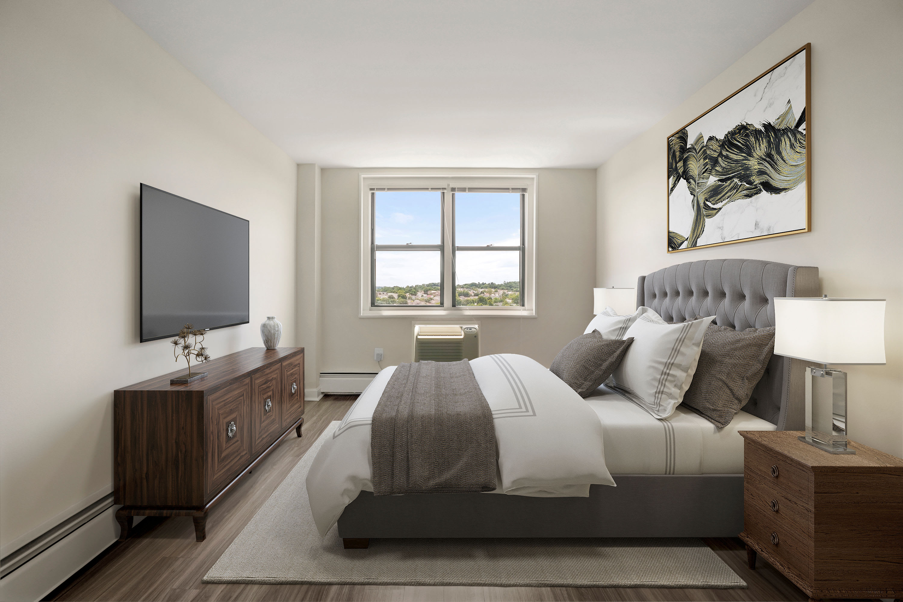 Bright and spacious master bedroom at Parkside Place in Cambridge, MA
