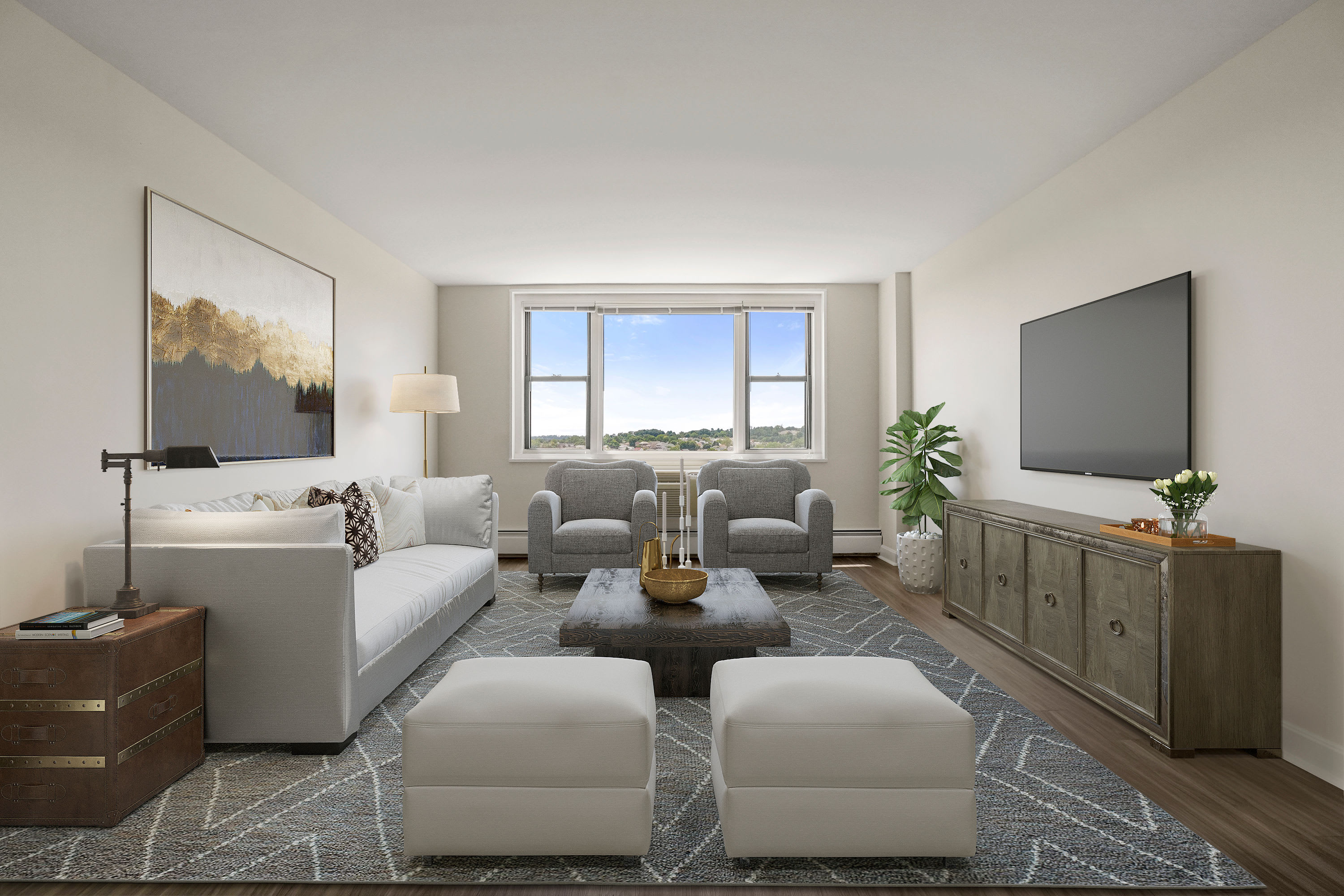 Spacious and light-filled living space at Parkside Place in Cambridge, MA