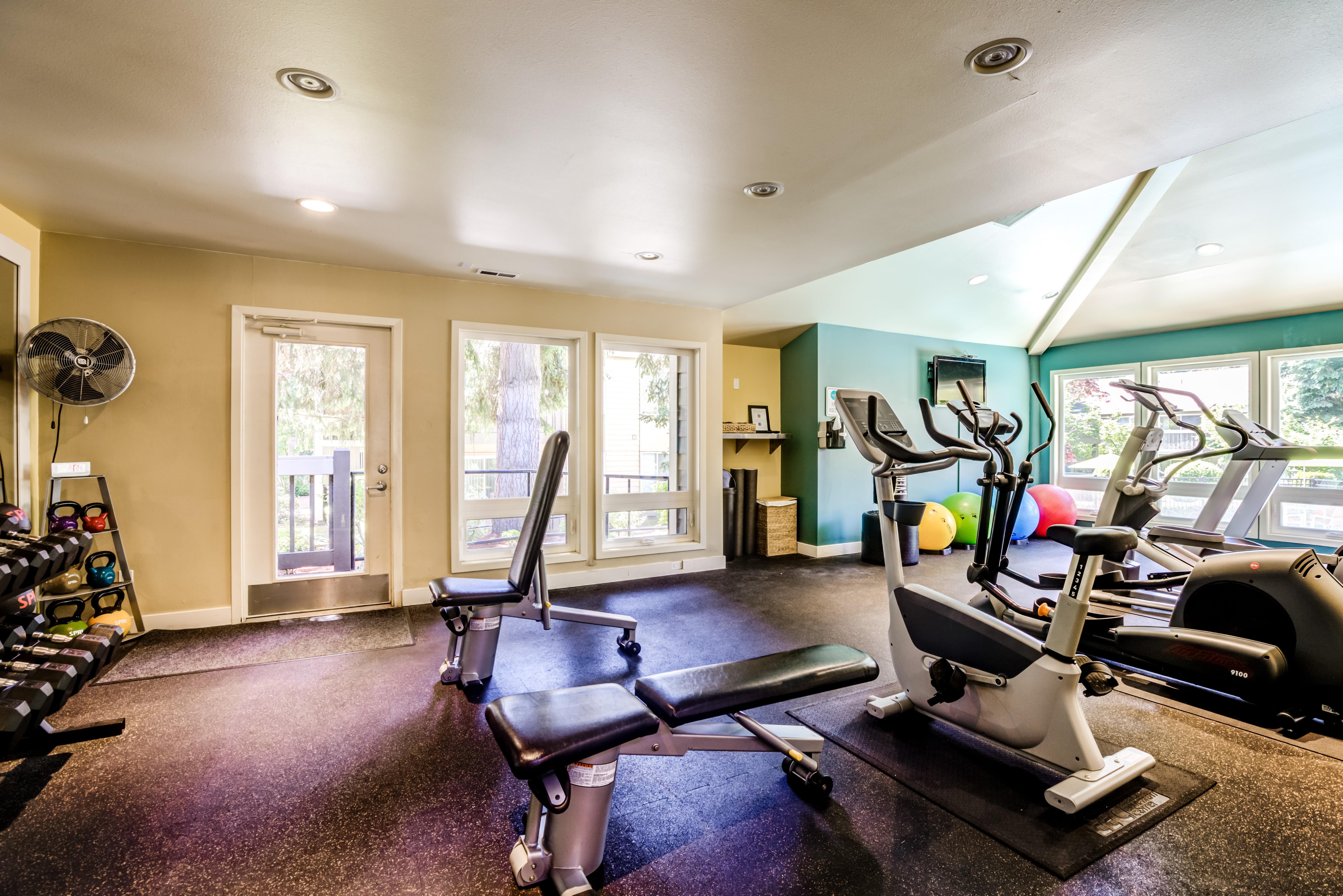 Gym at Vue Kirkland Apartments in Kirkland, Washington