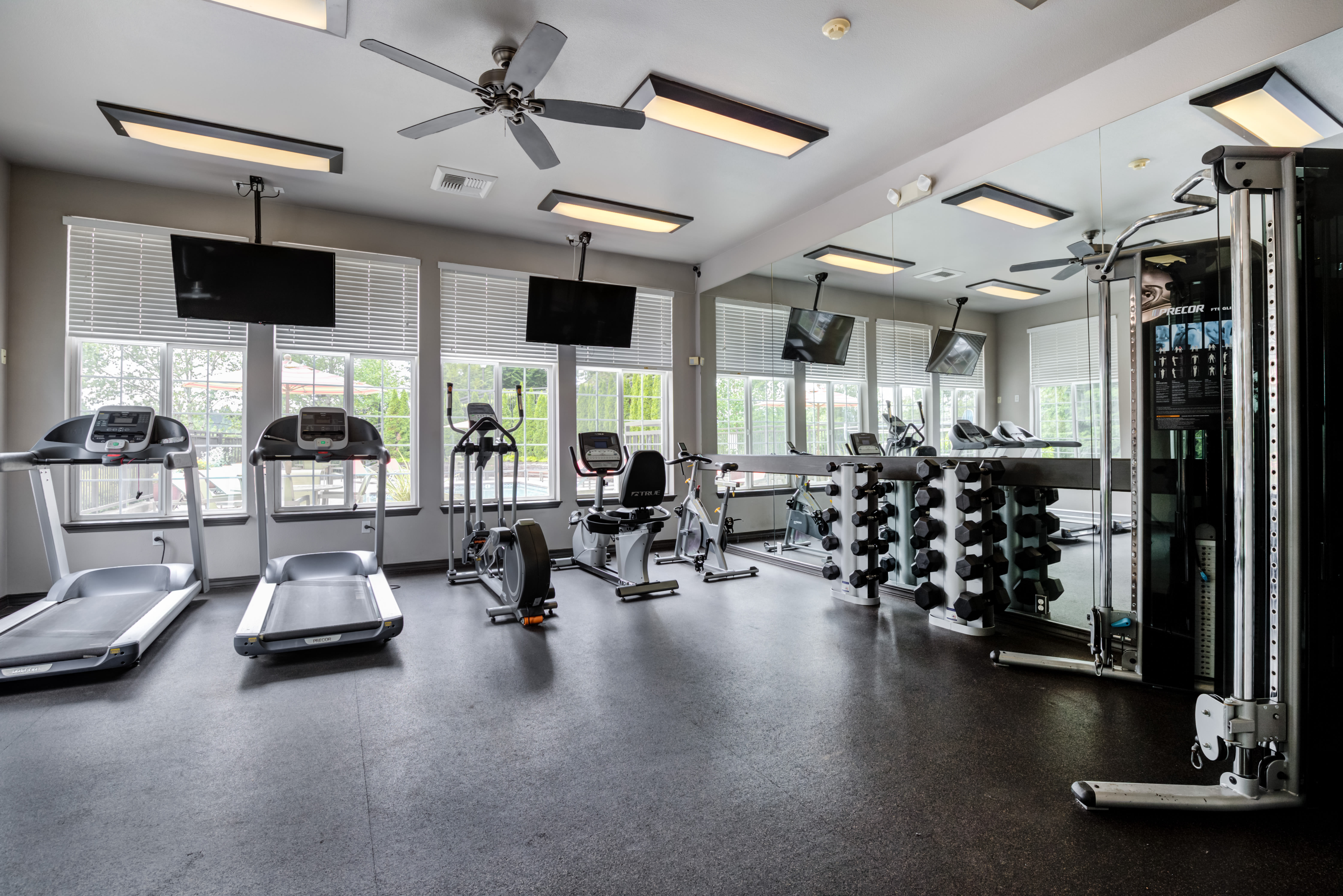 Fitness equipment at The Knolls at Inglewood Hill in Sammamish, Washington