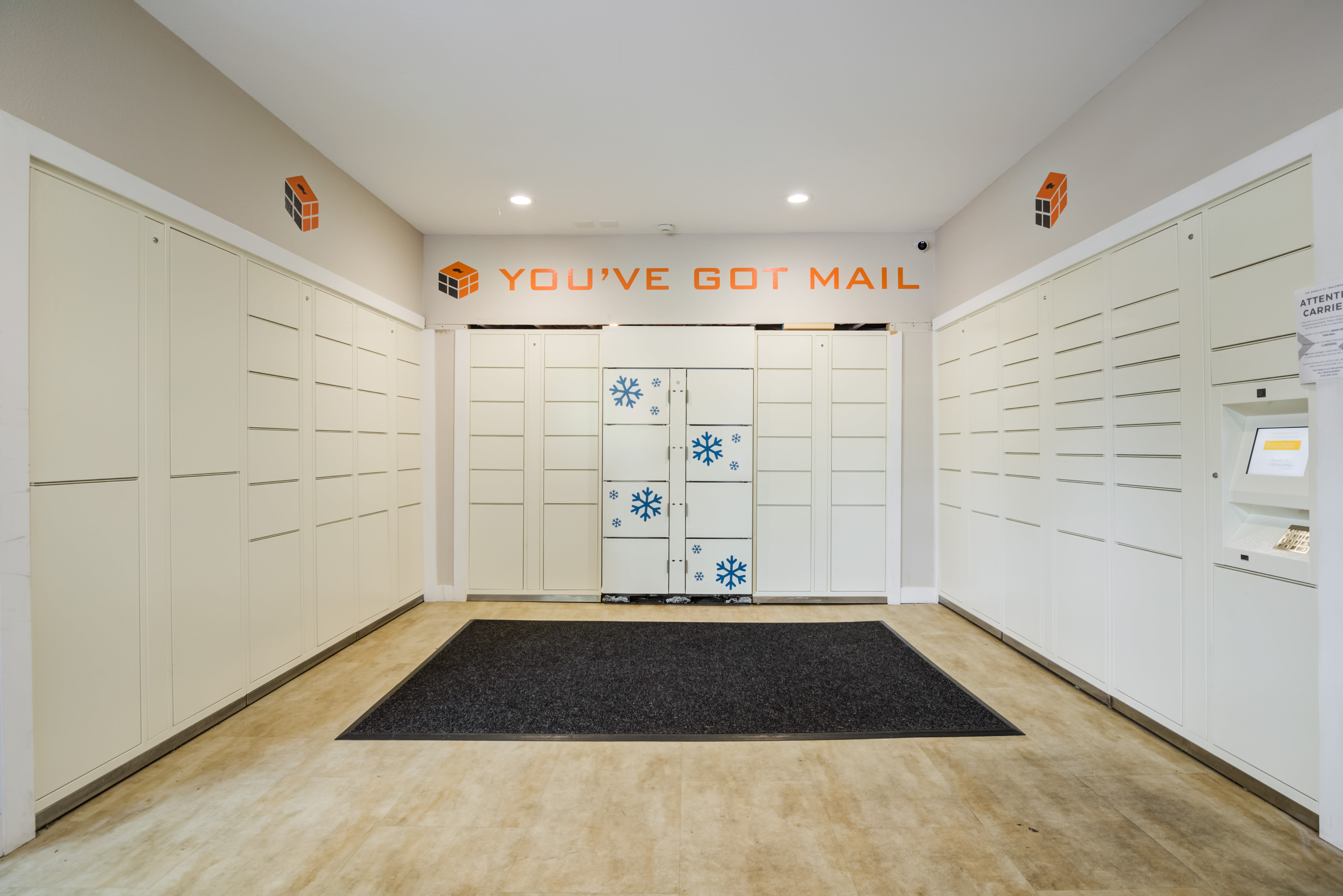 Mailroom and parcel pick up center at The Knolls at Inglewood Hill in Sammamish, Washington