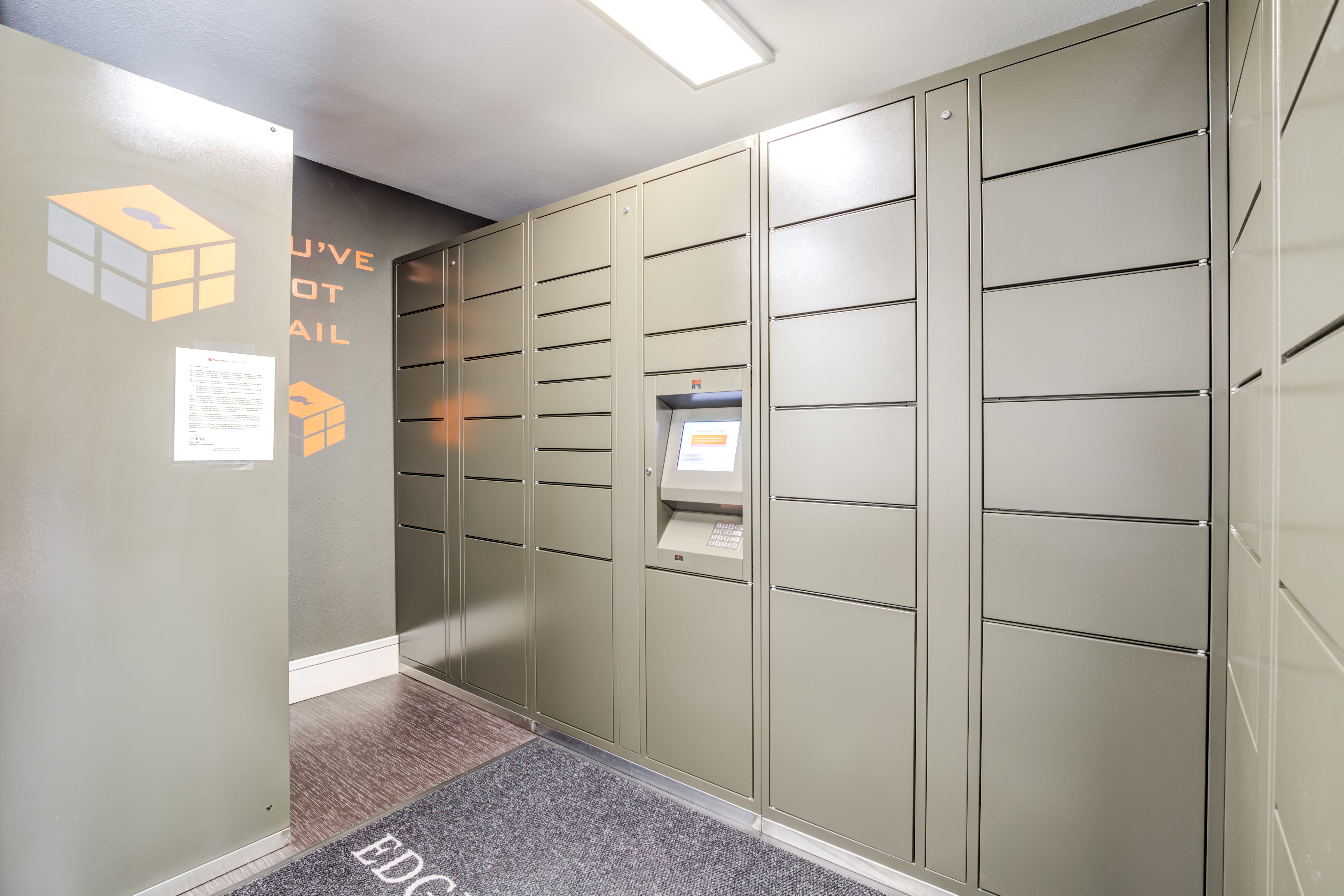 Mail room at Edgewood Park Apartments in Bellevue, Washington