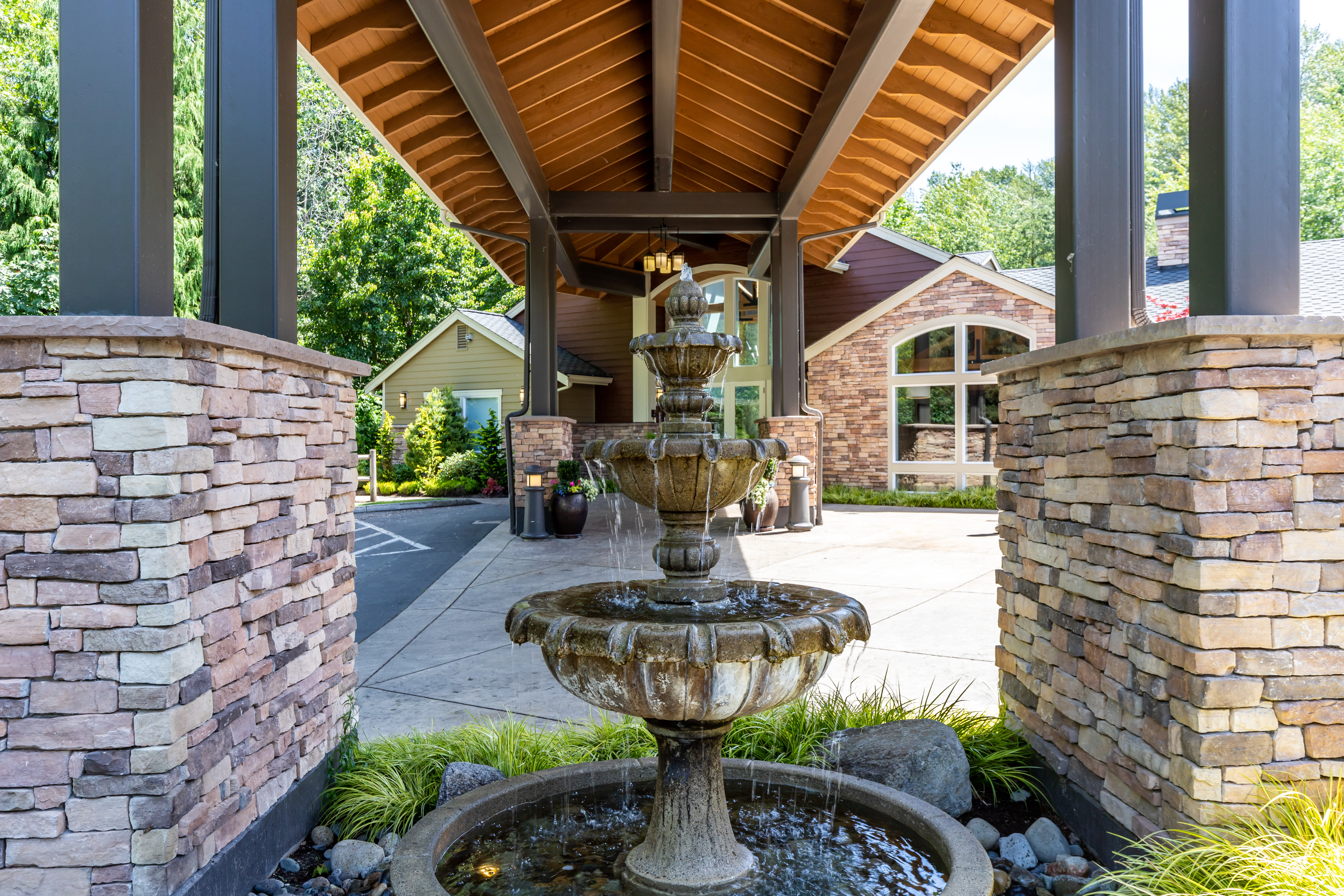 Fountain outside clubhouse at The Preserve at Forbes Creek in Kirkland, Washington