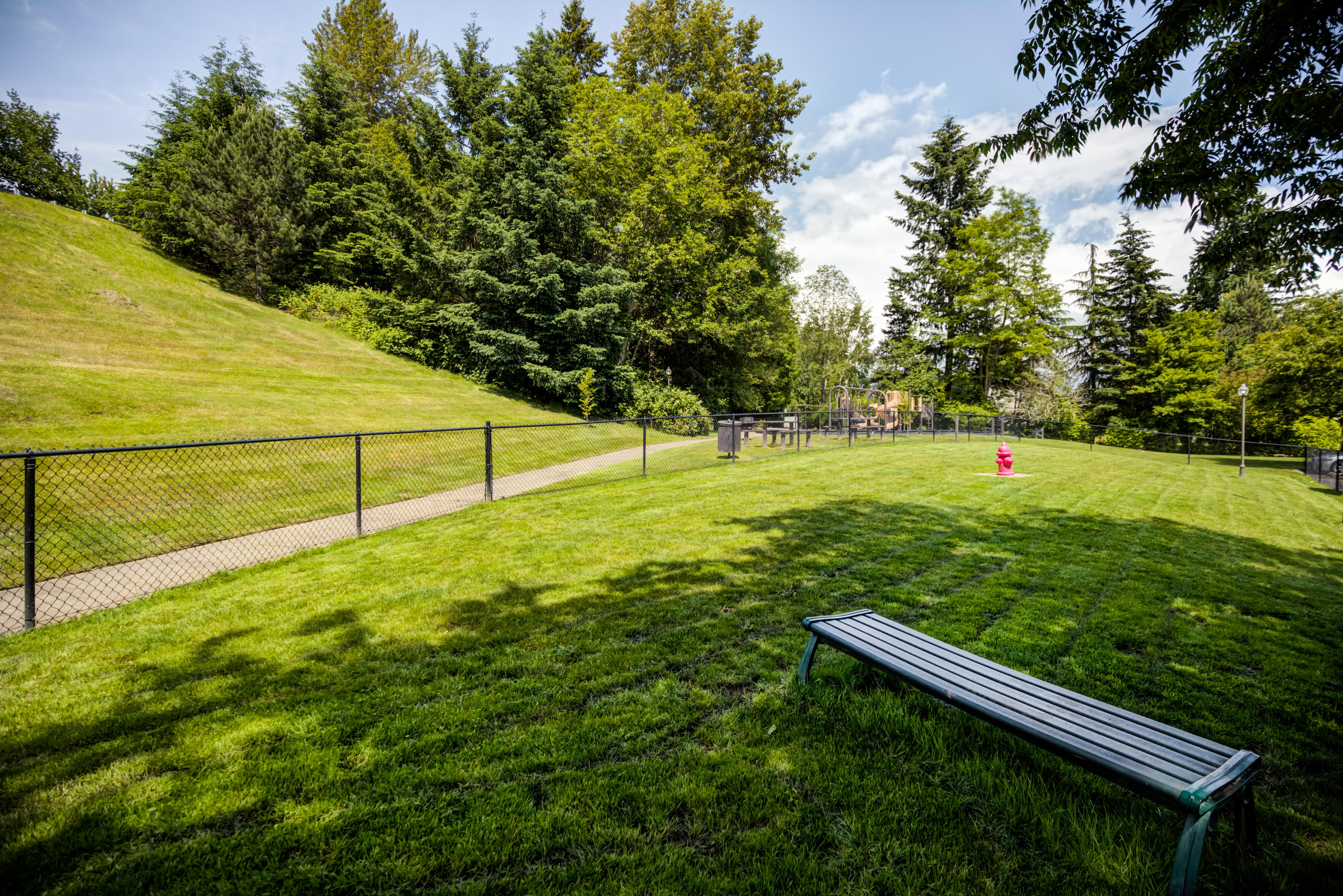 Onsite dog park at The Knolls at Inglewood Hill in Sammamish, Washington