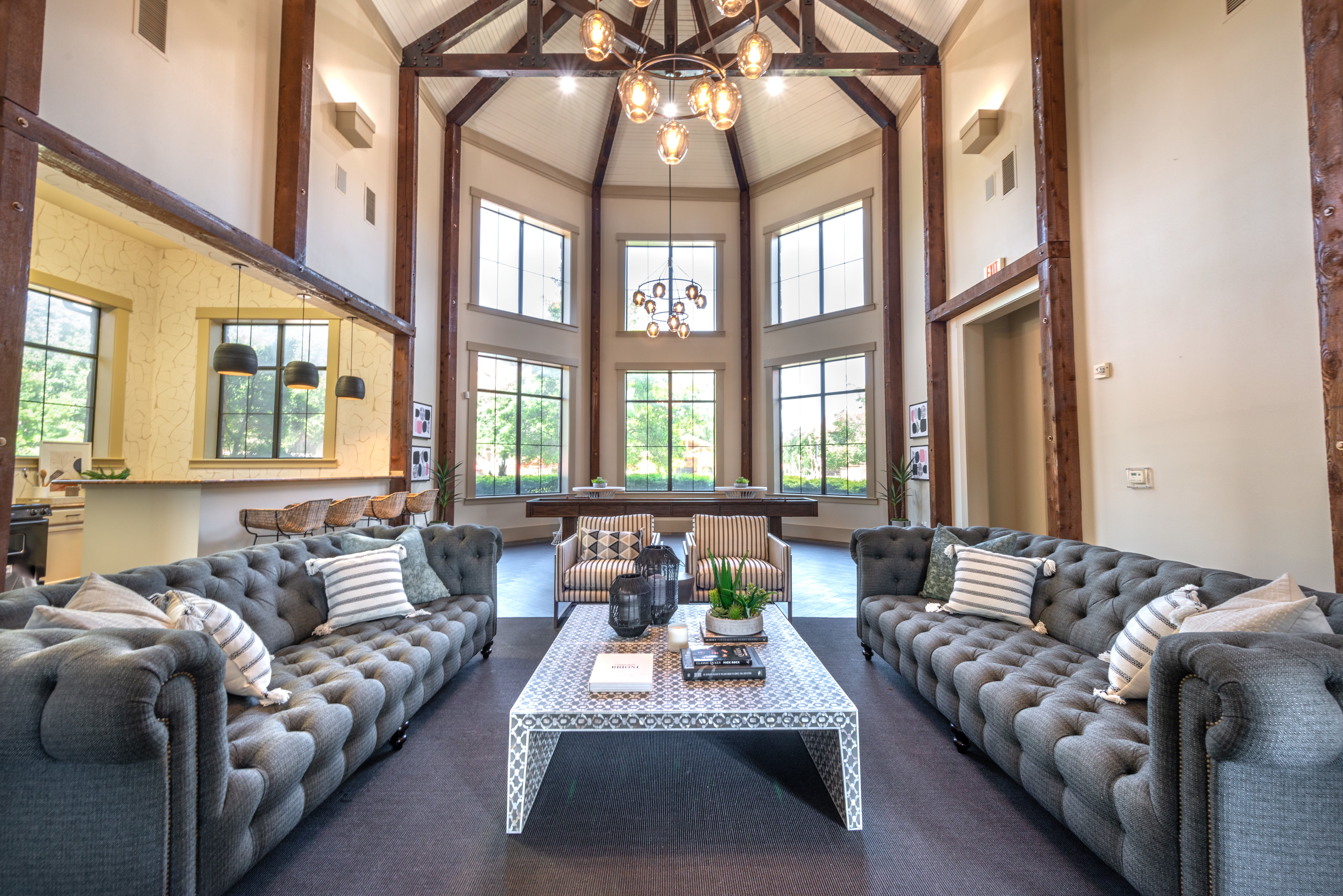 Clubhouse community seating space at Olympus Team Ranch in Benbrook, Texas
