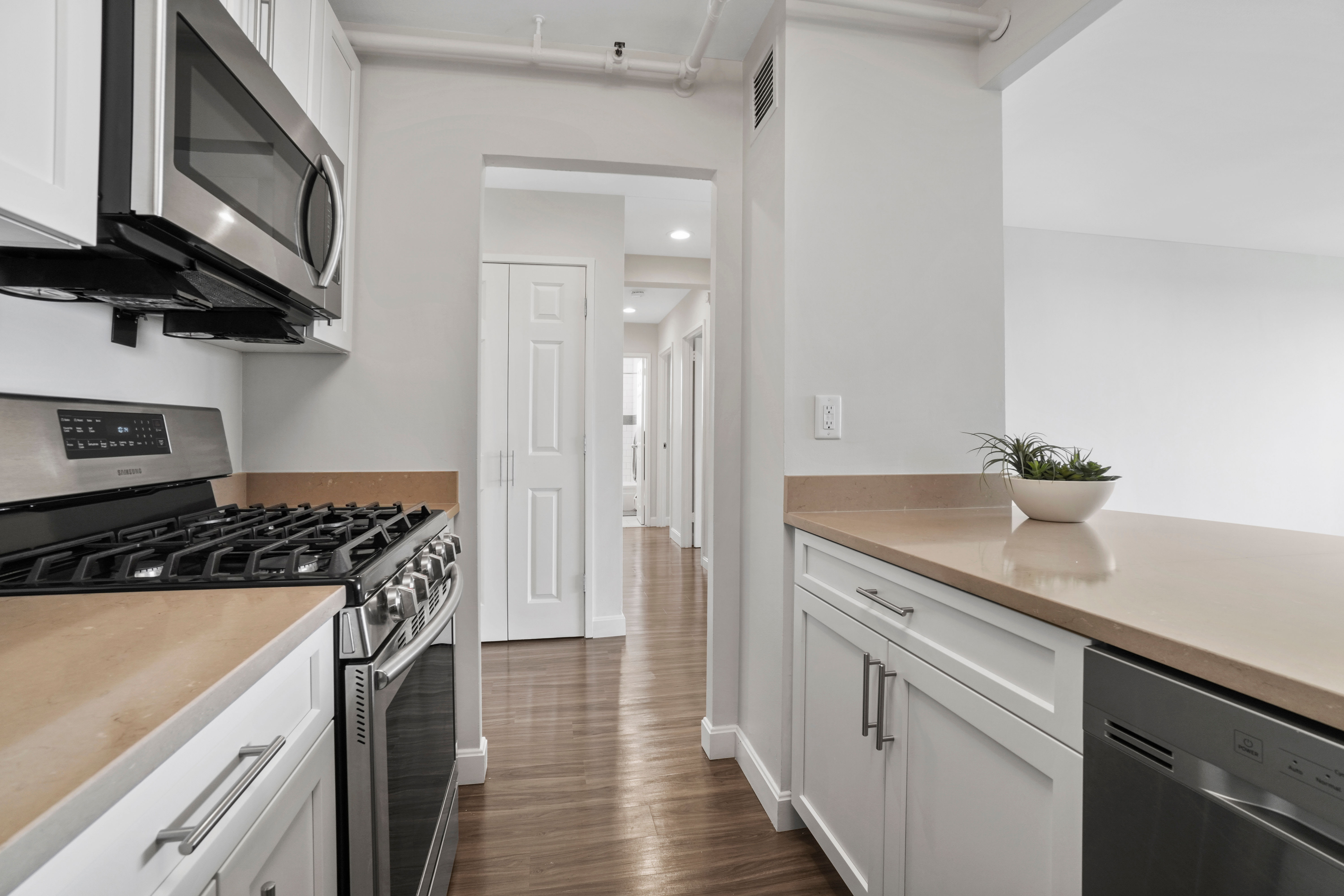 Modern kitchen looking into living space at Parkside Place in Cambridge, MA