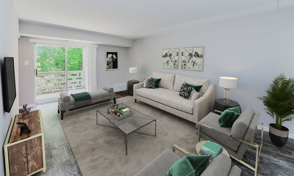 Spacious living room at Marchwood Apartment Homes