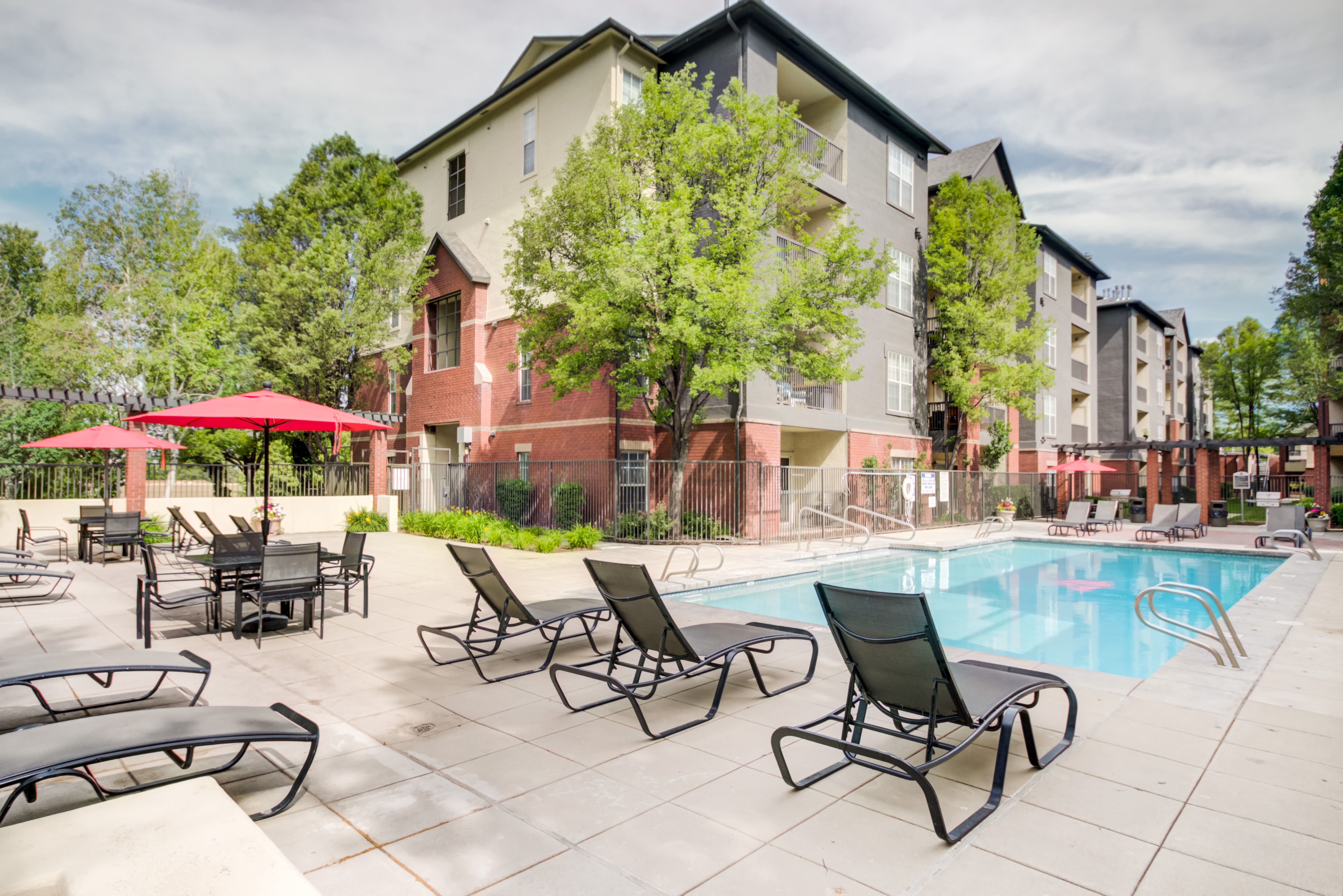 Sparkling swimming pool at Irving Schoolhouse Apartments in Salt Lake City, Utah