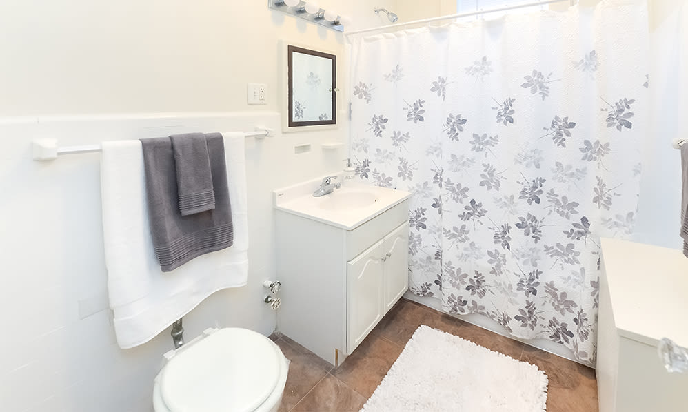 Bathroom at Berkeley Arms Apartment Homes in Rutherford, New Jersey