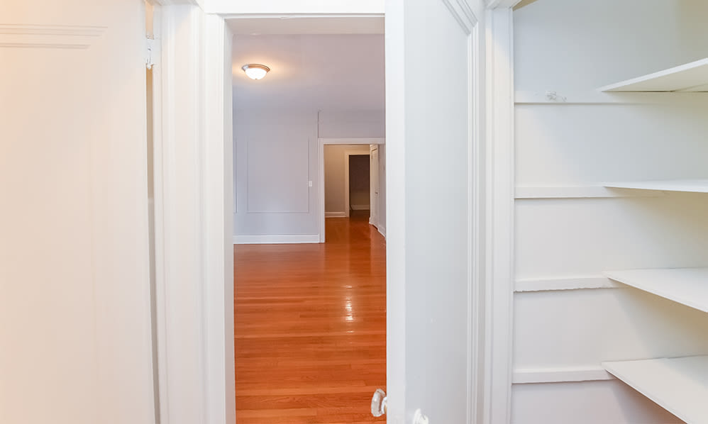 Walk-in closet at Berkeley Arms Apartment Homes in Rutherford, New Jersey