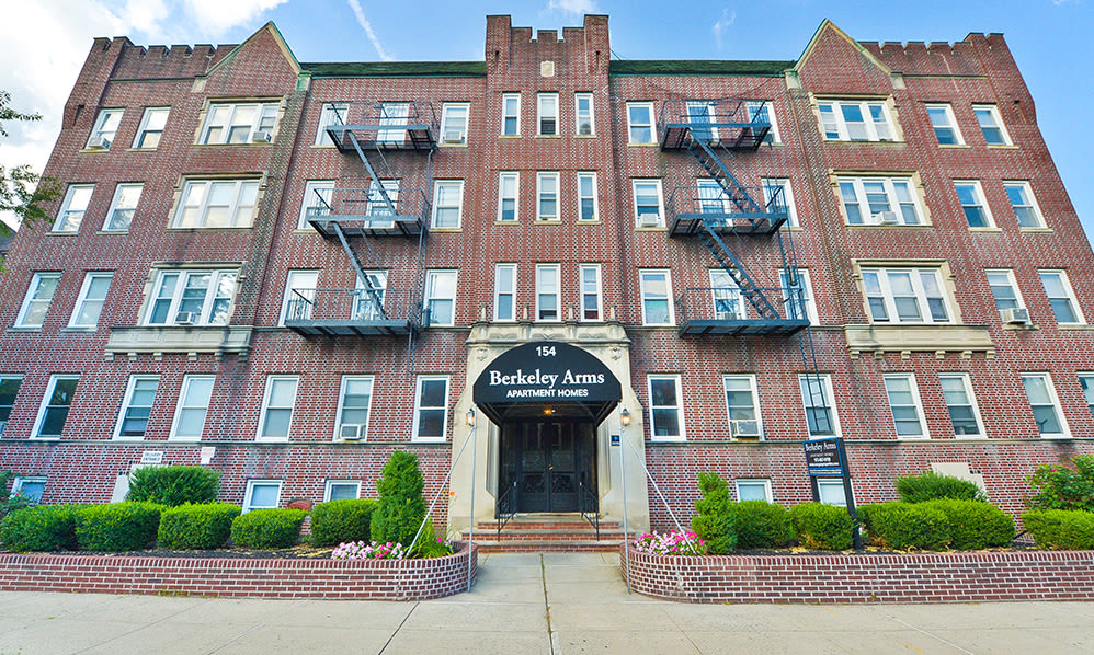 Classic exterior views at Berkeley Arms Apartment Homes in Rutherford, New Jersey