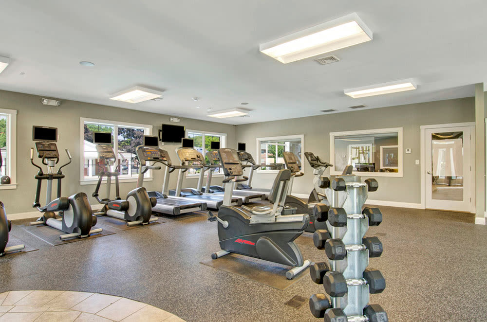 Free weights and other exercise equipment at Gardencrest