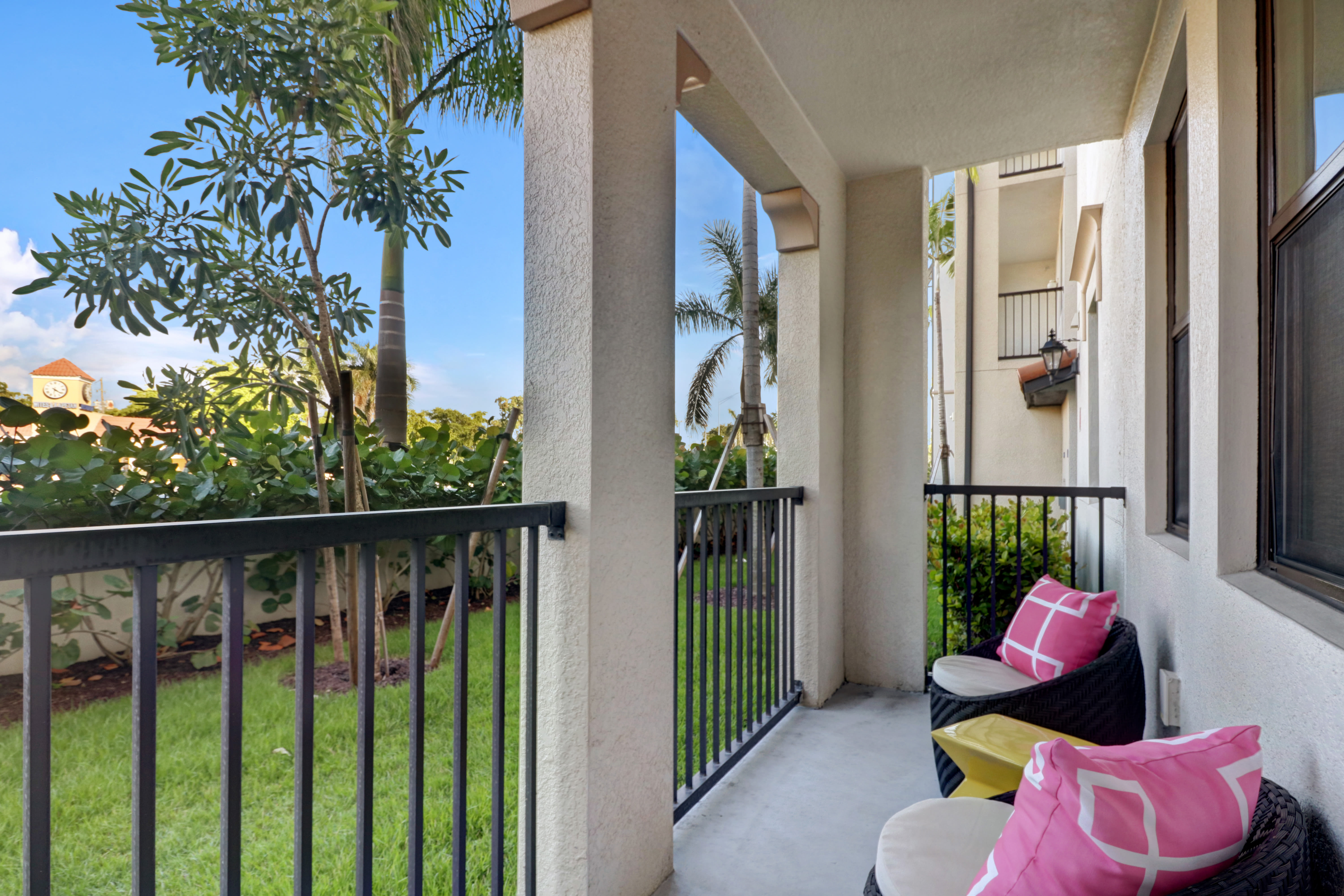 Outdoor balcony sitting area at Linden Pointe in Pompano Beach, Florida