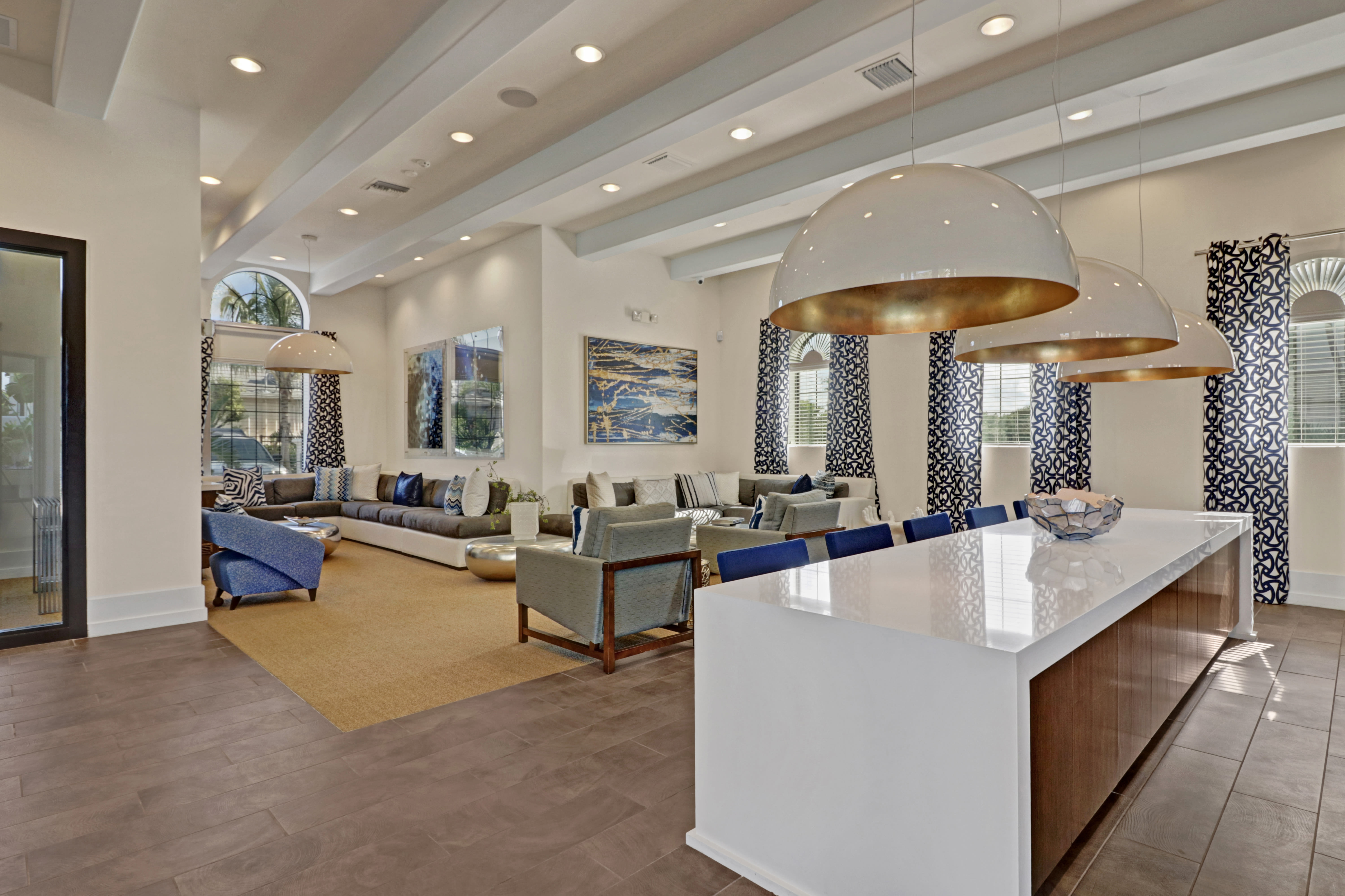 Spacious clubhouse interior at Linden Pointe in Pompano Beach, Florida features tall ceilings