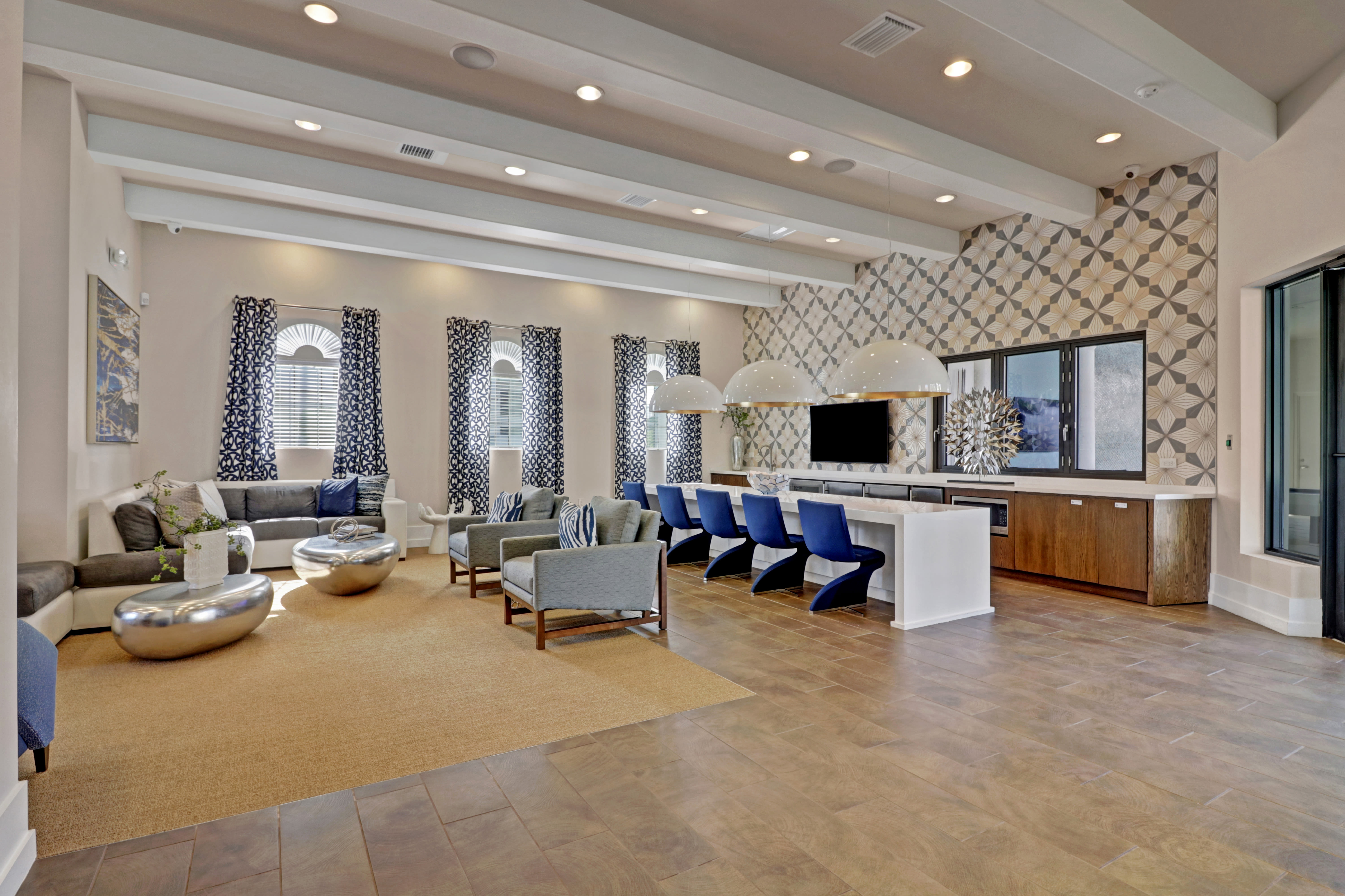 Beautiful clubhouse interior at Linden Pointe in Pompano Beach, Florida