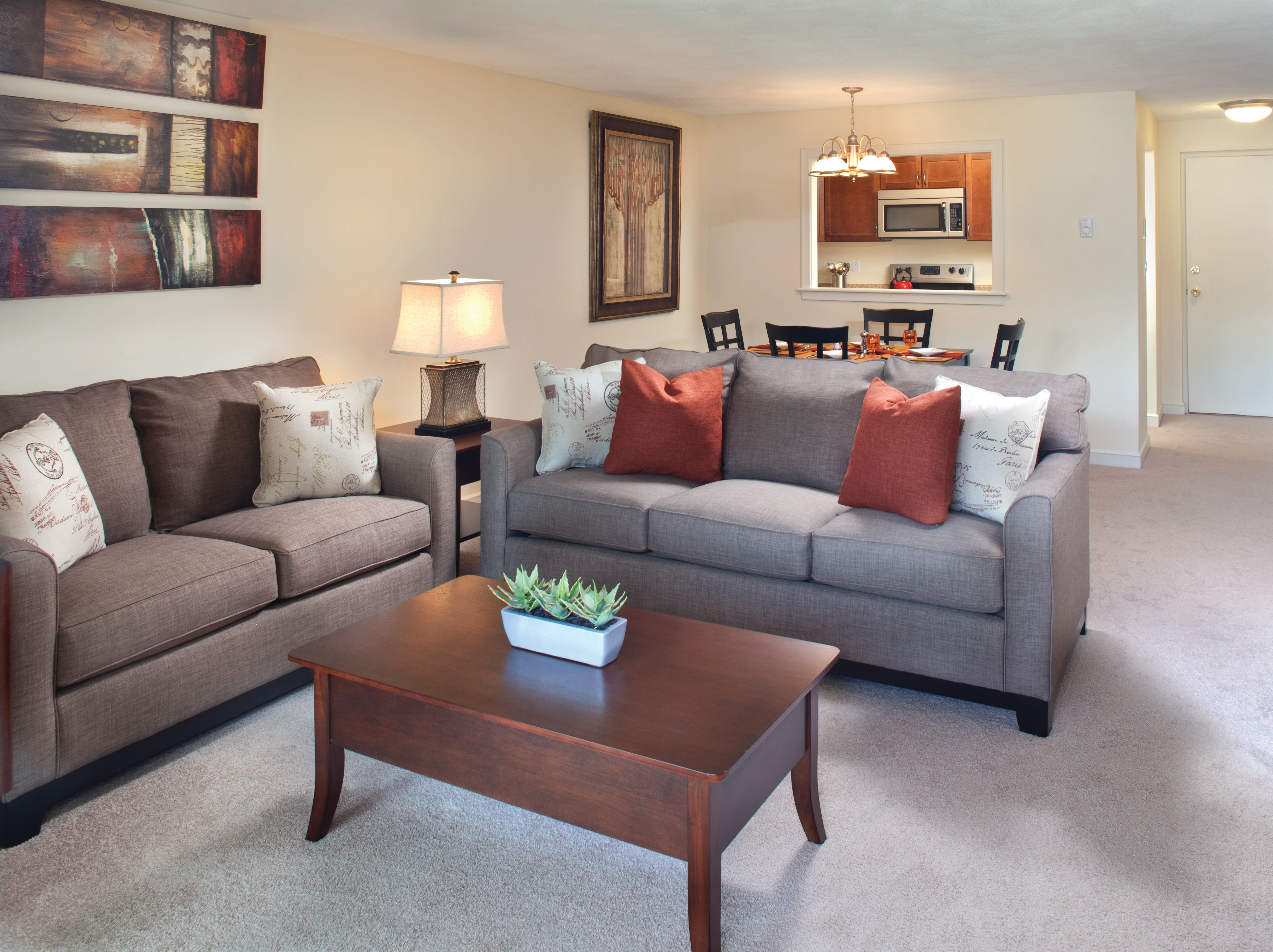 living room In an apartment at Gardencrest in Waltham, Massachusetts