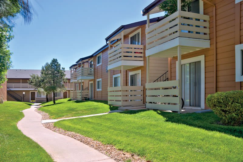 Building exterior at Hampden Heights Apartments in Denver