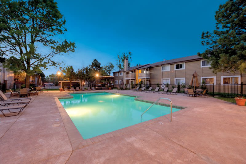 Community pool at Hampden Heights Apartments in Denver, Colorado