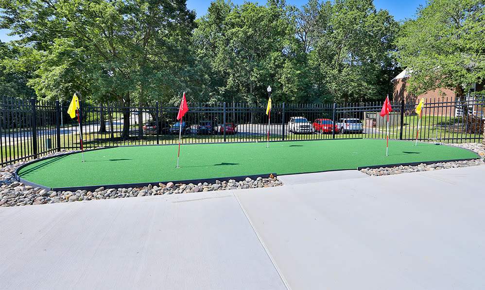Putting green at Skylark Pointe Apartment Homes in Parkville, Maryland