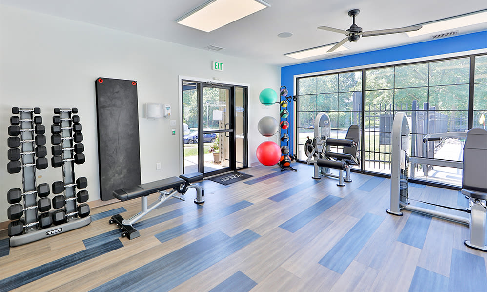 Fitness center at Skylark Pointe Apartment Homes in Parkville, Maryland