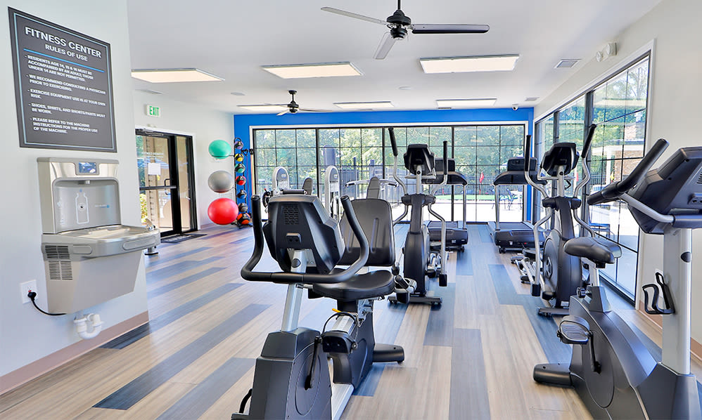 Modern fitness center at Skylark Pointe Apartment Homes in Parkville, Maryland