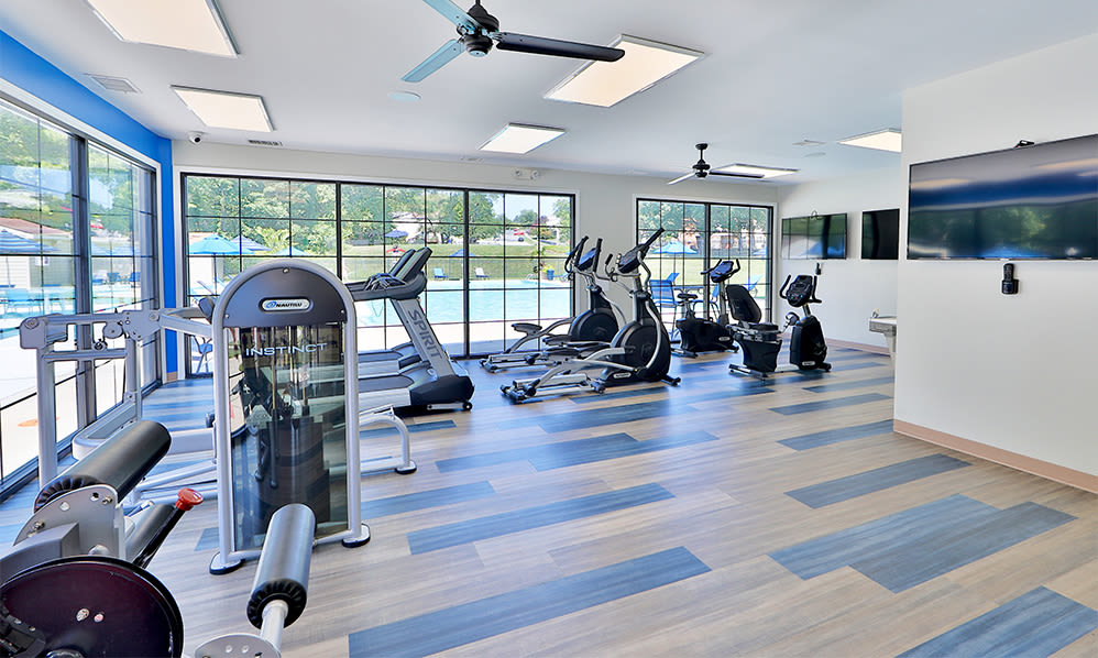 Spacious fitness center at Skylark Pointe Apartment Homes in Parkville, Maryland