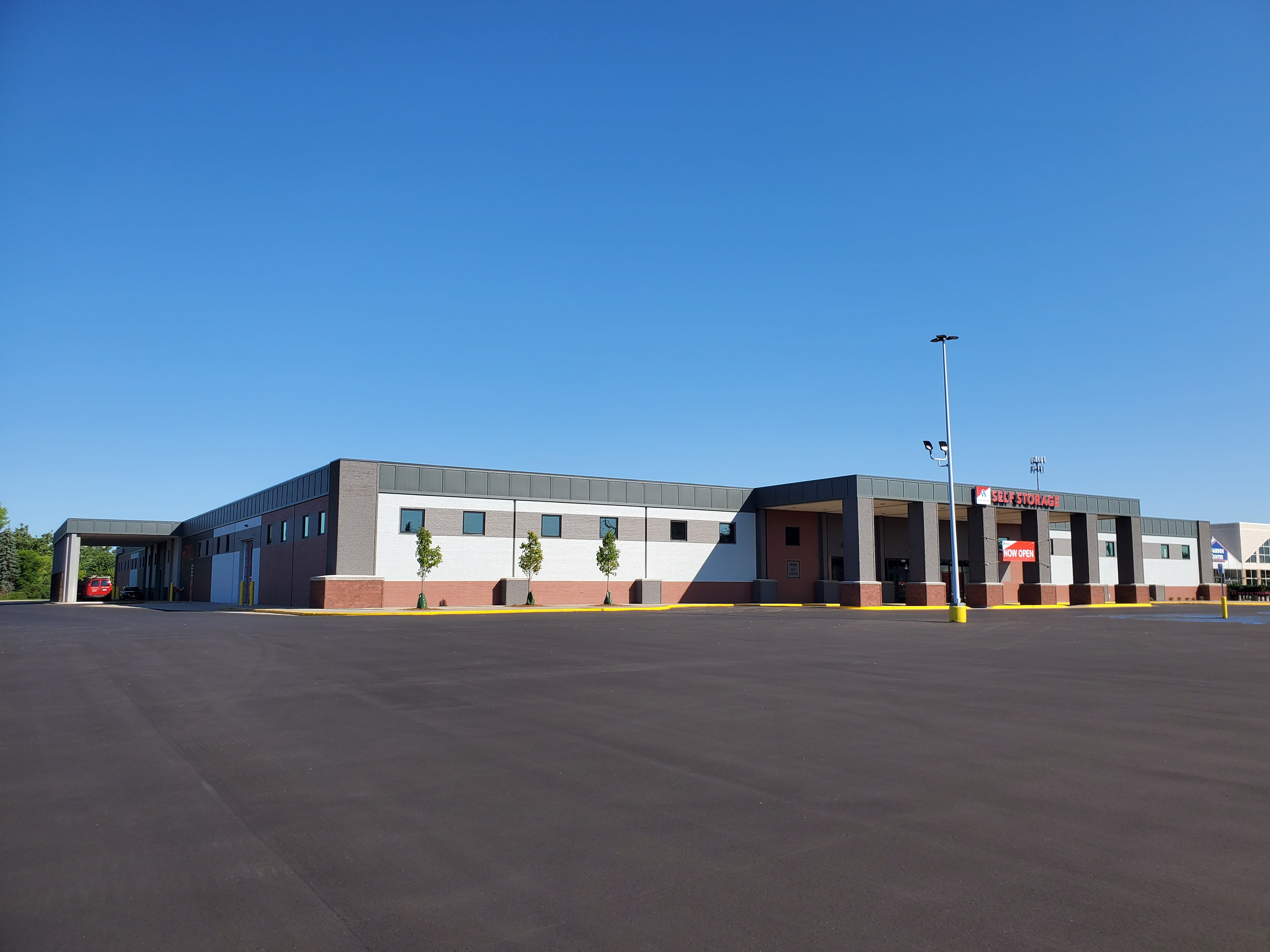 The wide driveways and front entrance at Devon Self Storage
