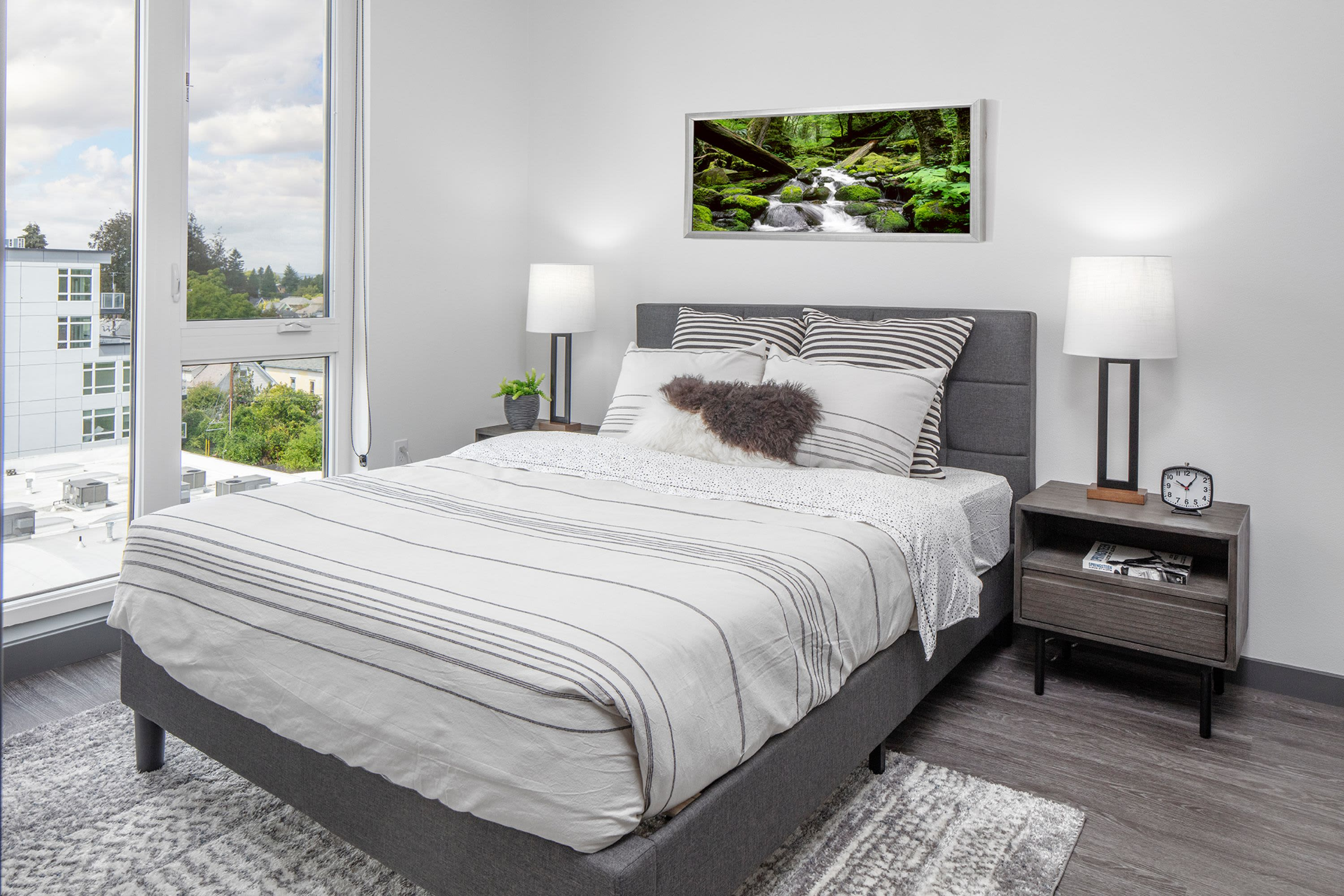 Modern bedroom at Parallax Apartments in Portland, Oregon