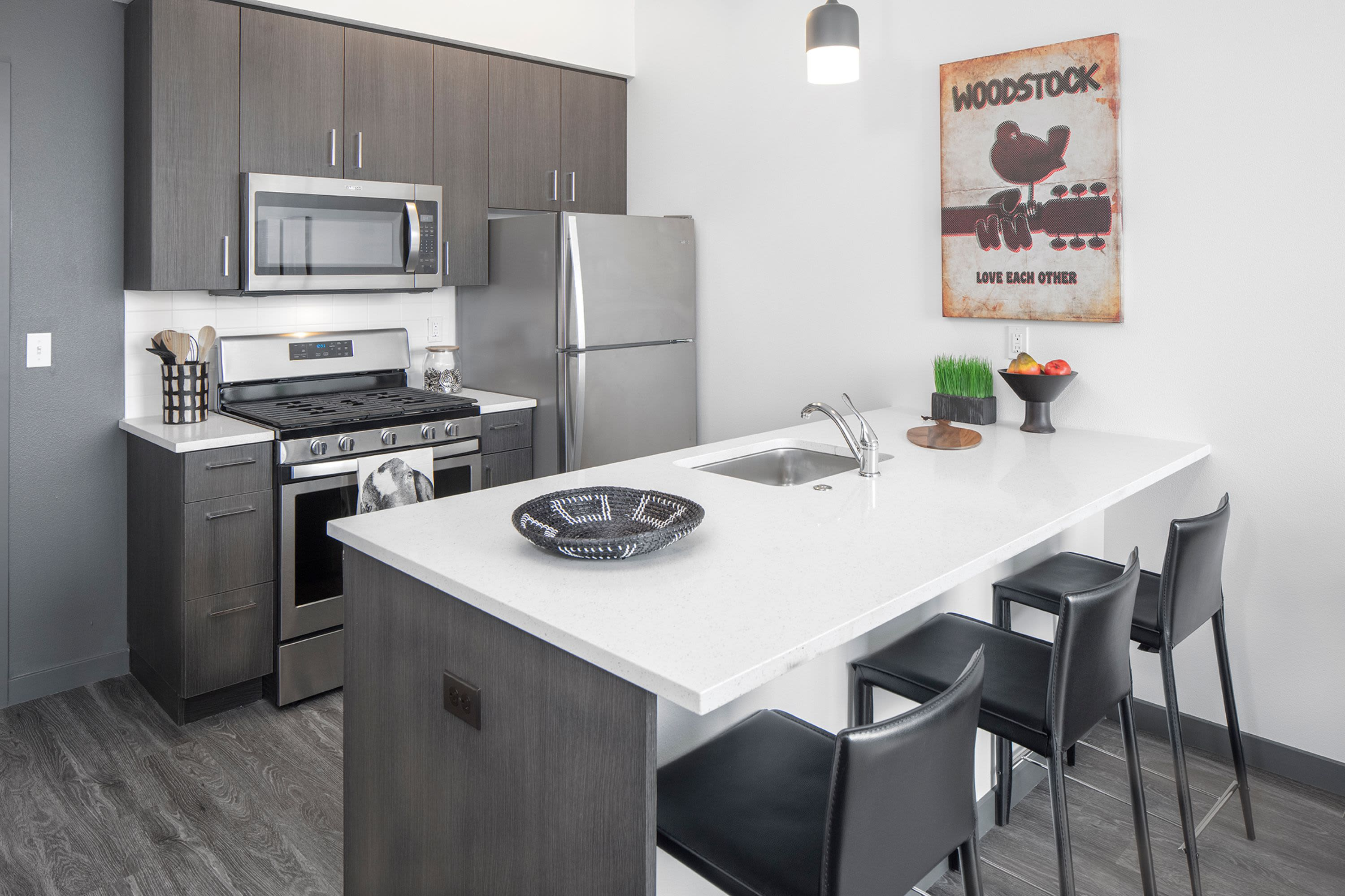 Luxurious kitchen at Parallax Apartments in Portland, Oregon
