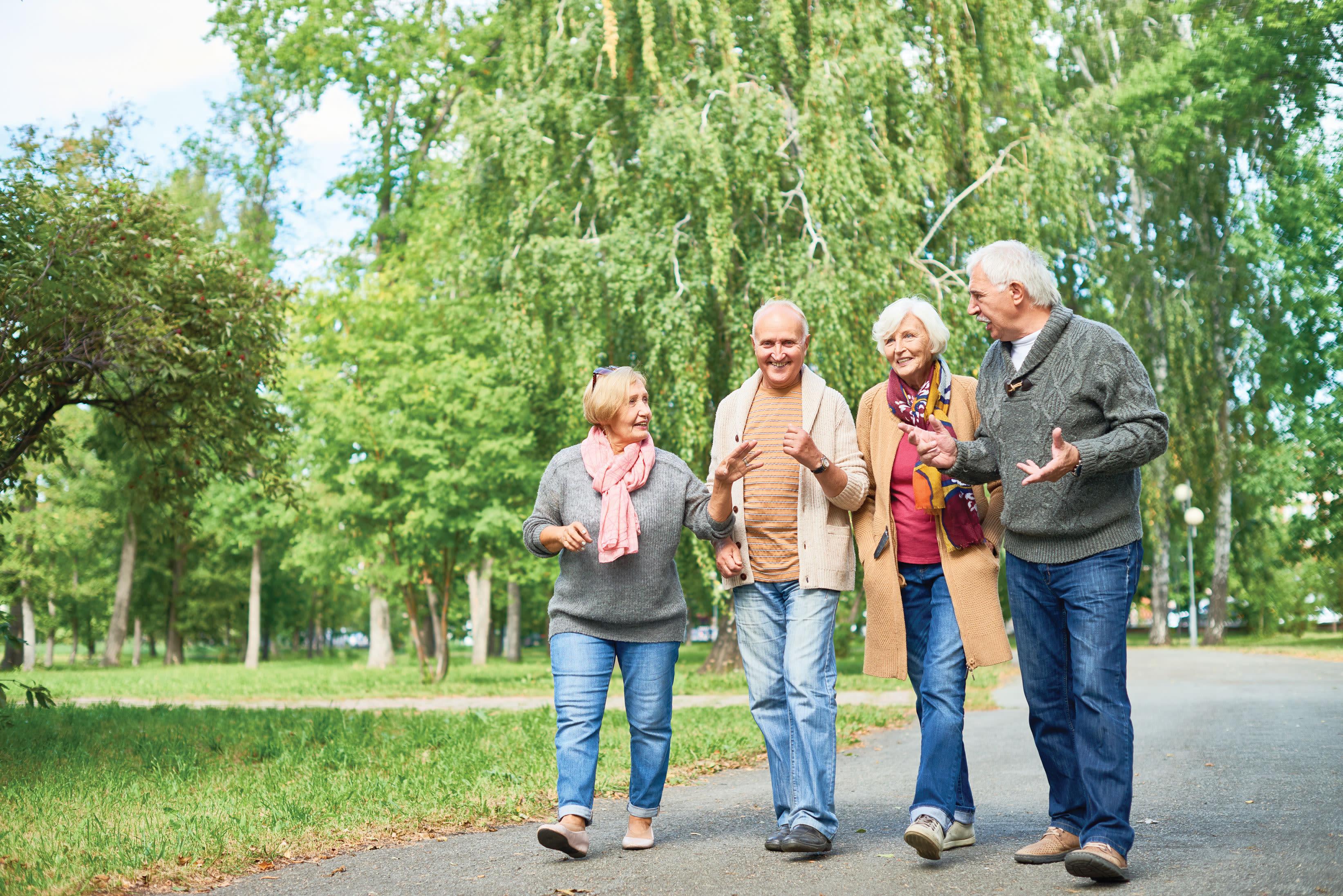Residents from Deer Crest Senior Living walking around outside in Red Wing, Minnesota