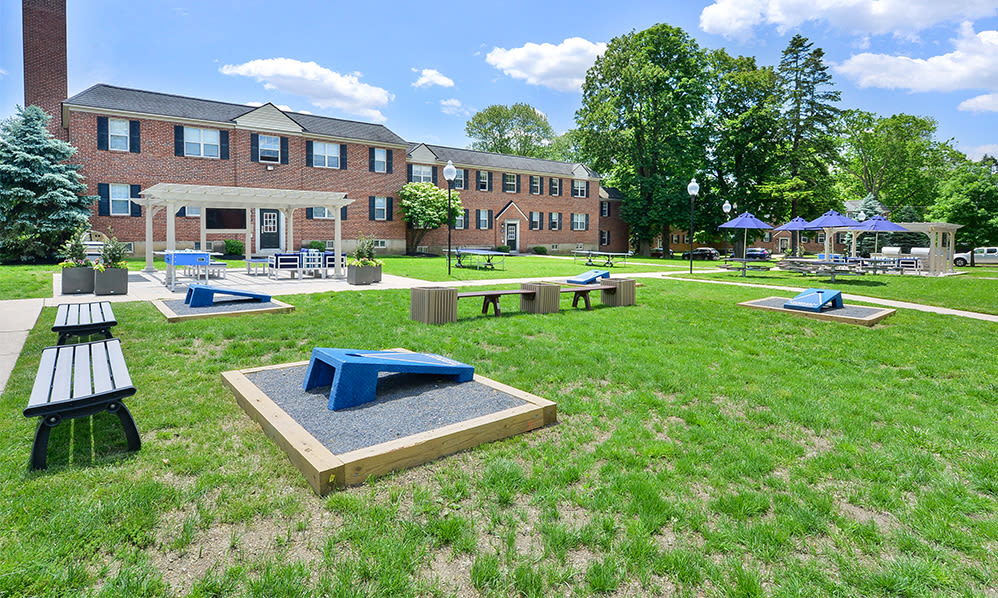 Outdoor recreation space at The Villas at Bryn Mawr Apartment Homes in Bryn Mawr, Pennsylvania