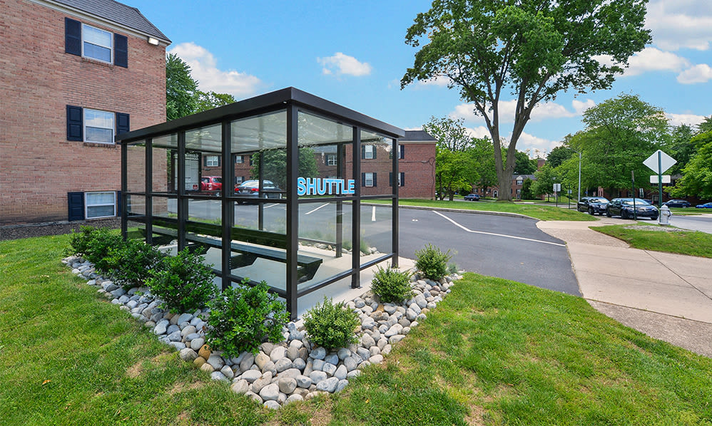 Covered shuttle bus stop at The Villas at Bryn Mawr Apartment Homes in Bryn Mawr, Pennsylvania