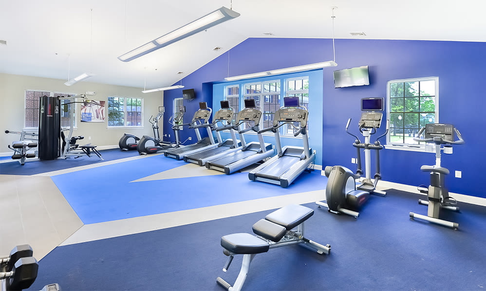 Spacious fitness center at The Villas at Bryn Mawr Apartment Homes in Bryn Mawr, Pennsylvania