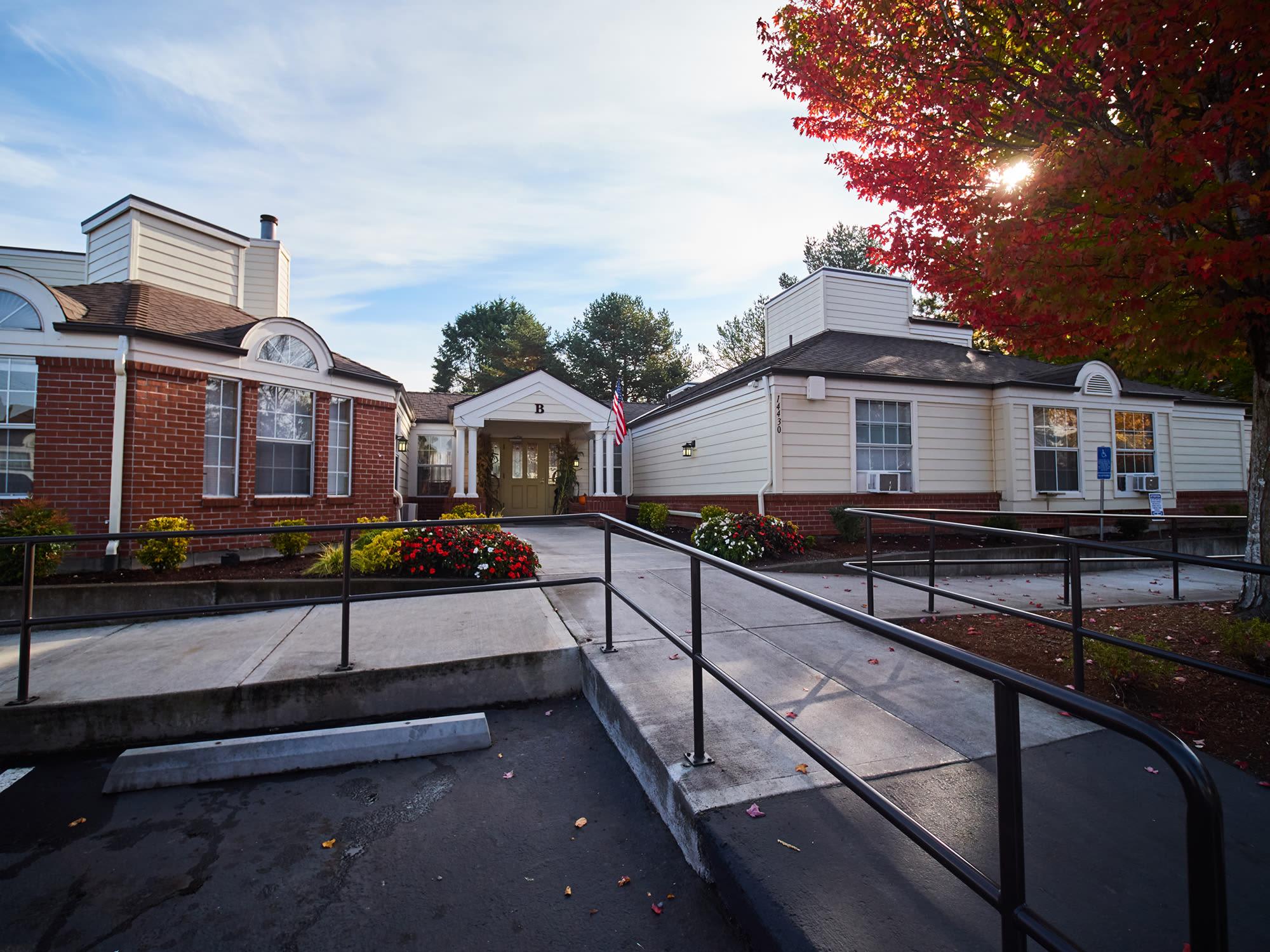 Main entrance to New Dawn Memory Care in Colorado Springs, Colorado