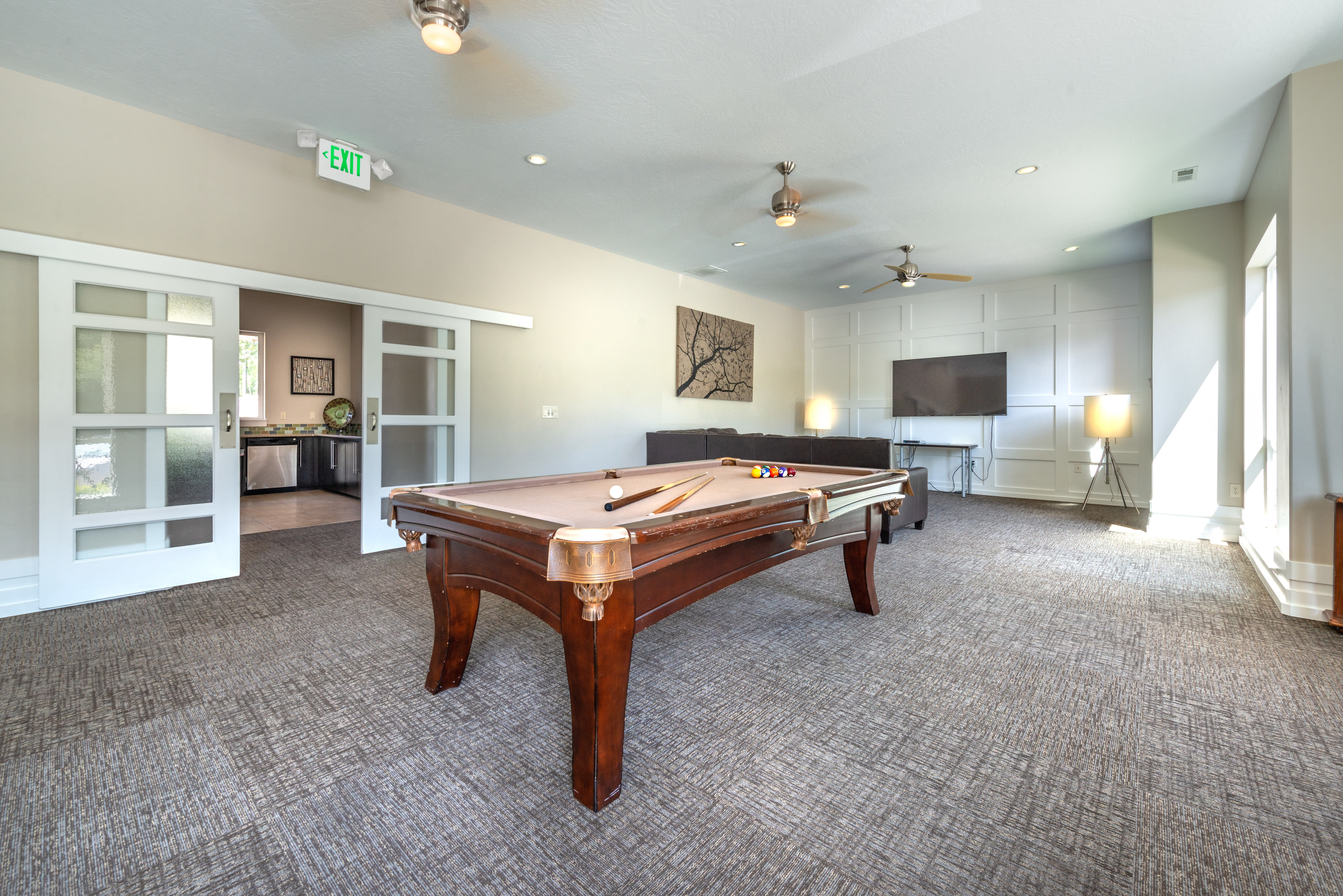 Clubhouse featuring a billiards table and other games at Olympus at the District in South Jordan, Utah