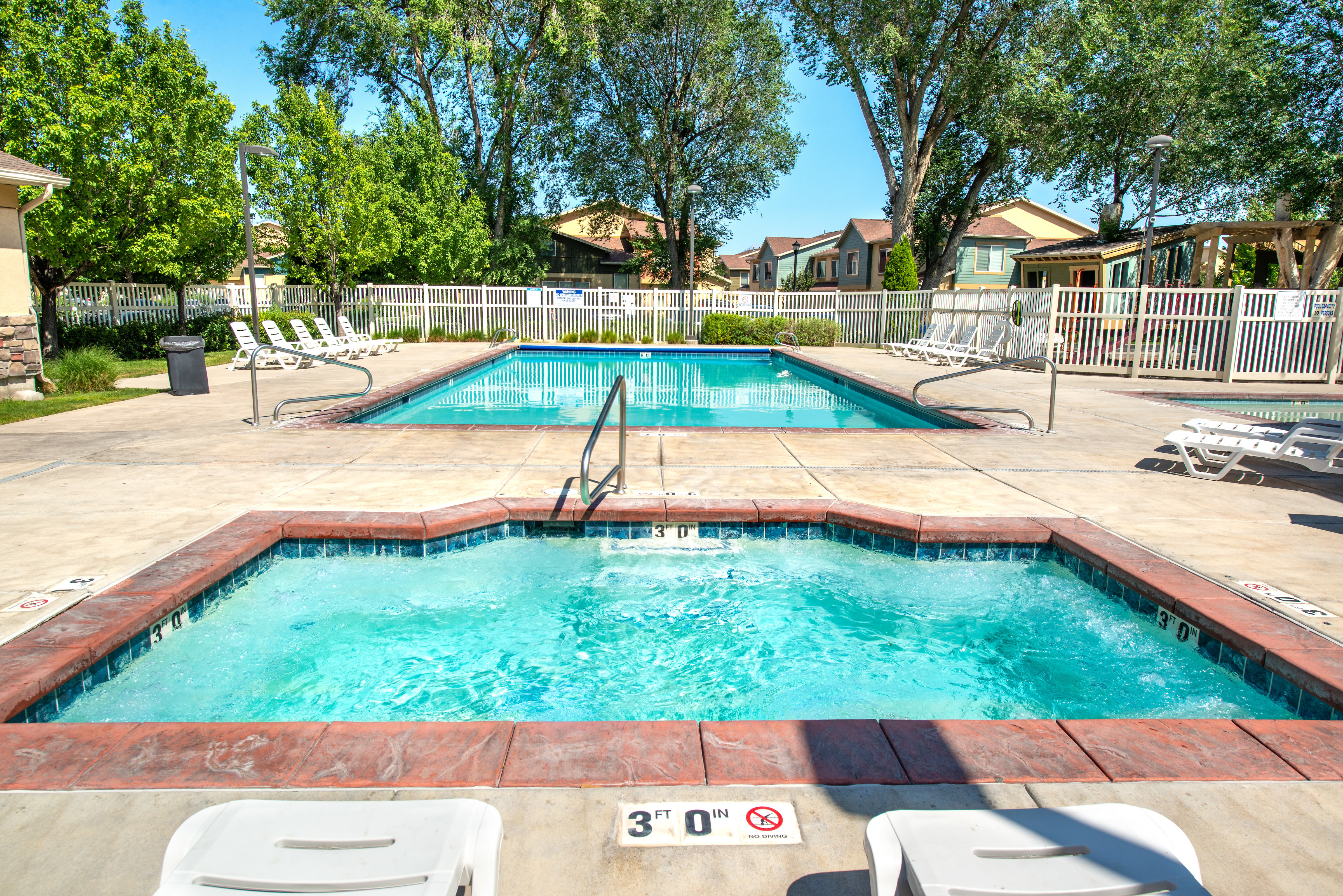 Outdoor spa pool at Olympus at the District in South Jordan, Utah