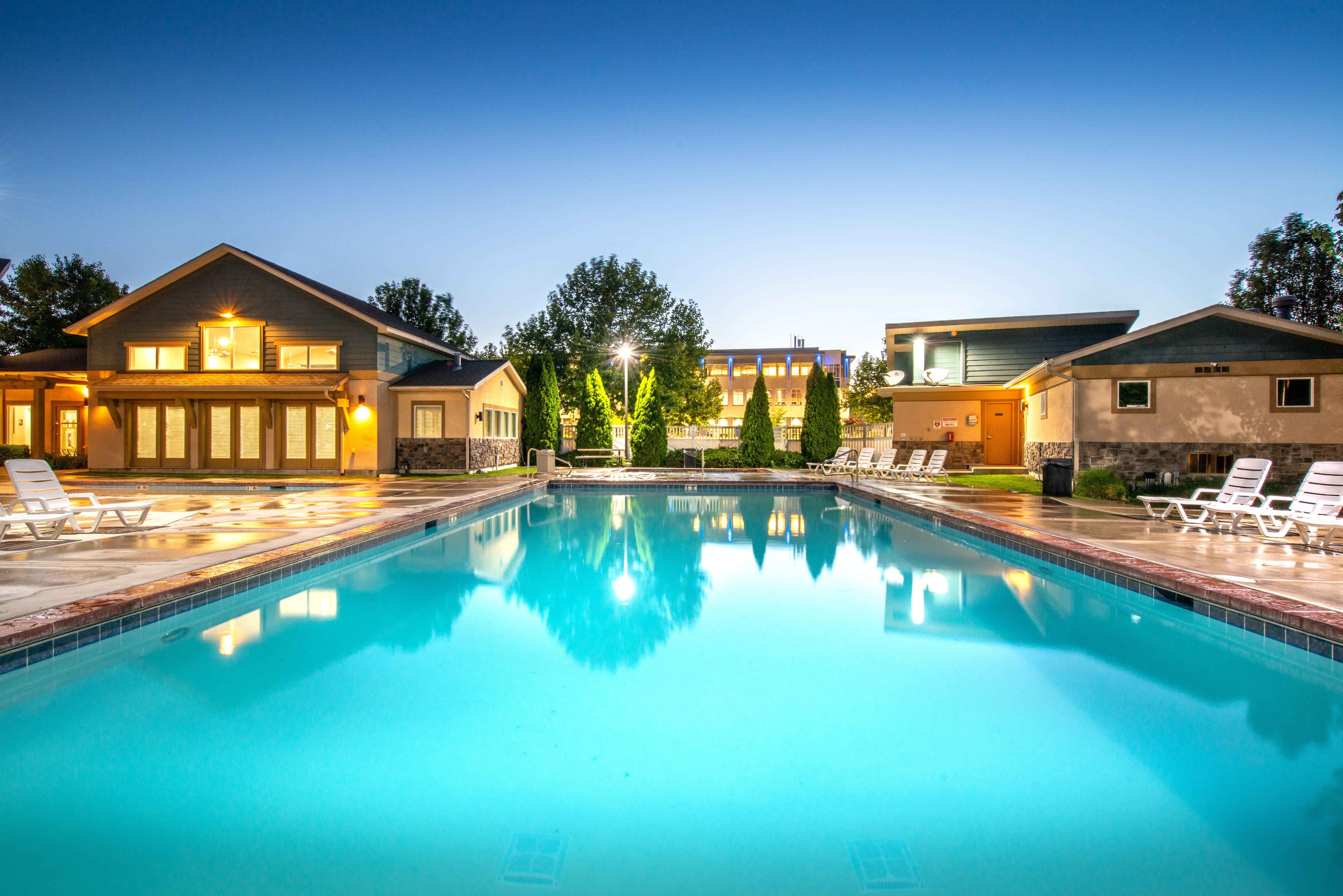 Luxurious community pool at Olympus at the District in South Jordan, Utah