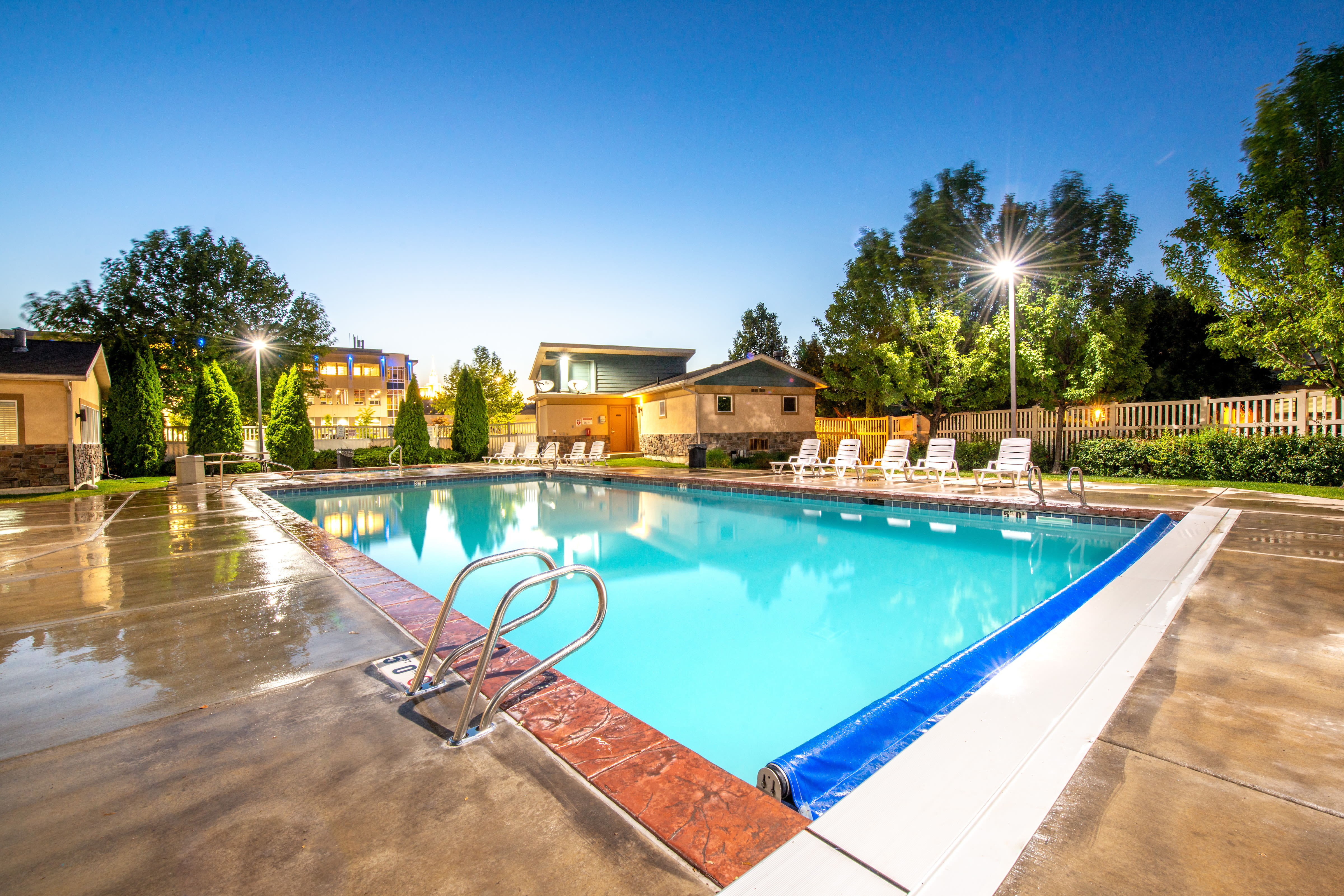 Outdoor swimming pool at Olympus at the District in South Jordan, Utah