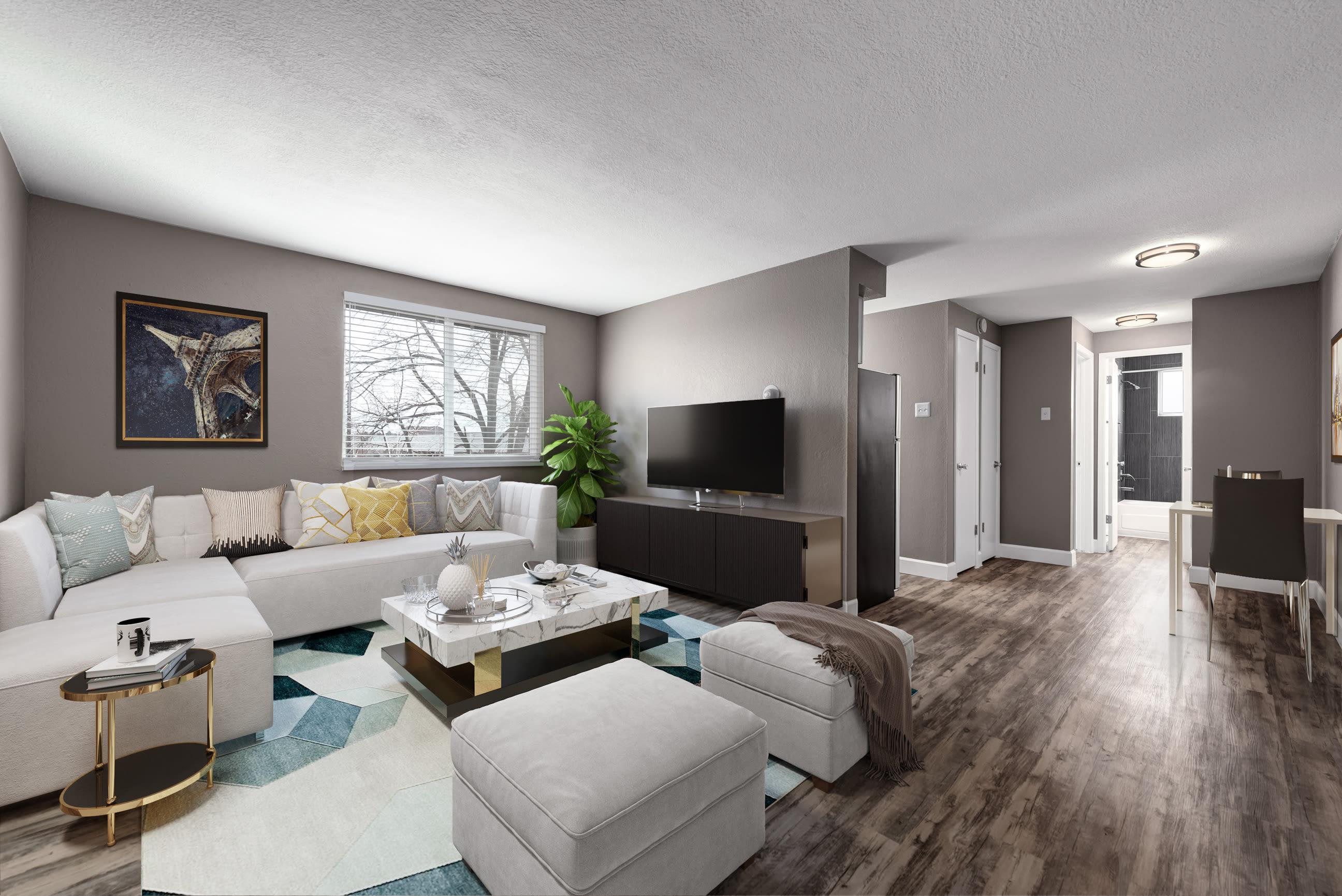 Model living room at Southglenn Place in Centennial, Colorado