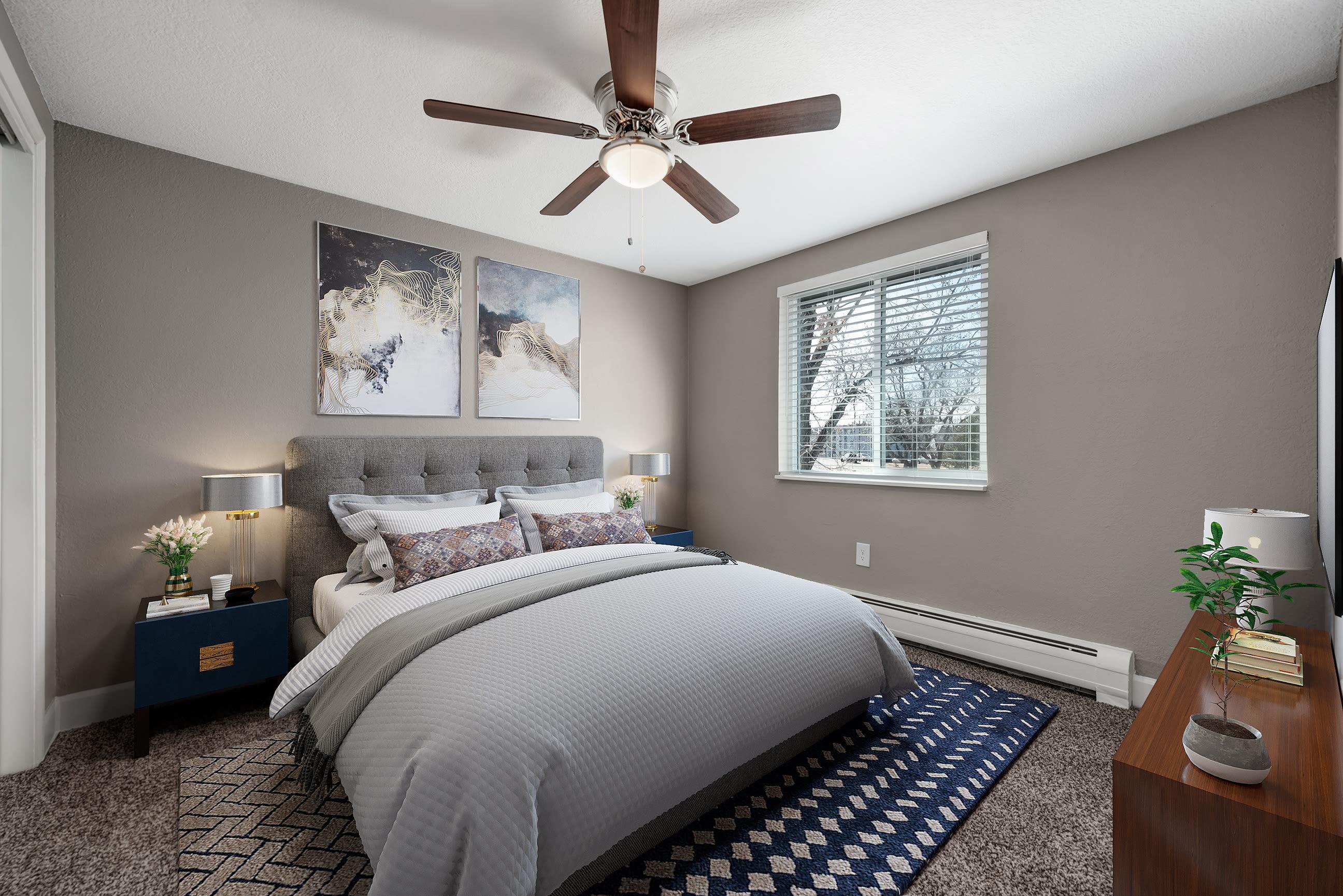 Model bedroom of Southglenn Place in Centennial, Colorado
