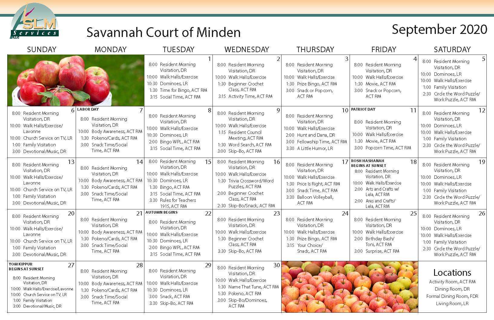 View our monthly calendar of events at Savannah Court of Minden